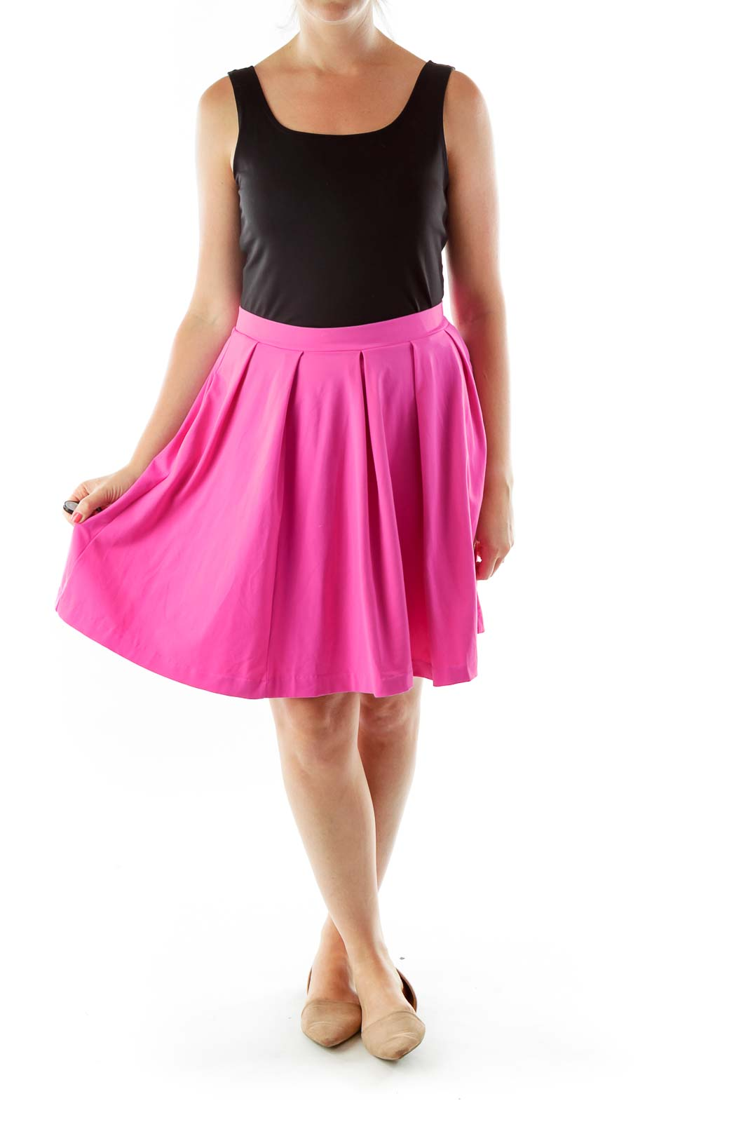 Pink Pleated Flared Skirt