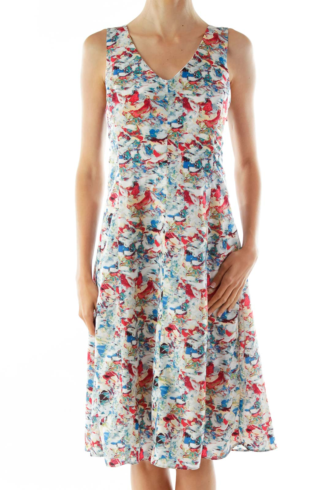 Blue Red Green Print Sleeveless V-neck Day Dress