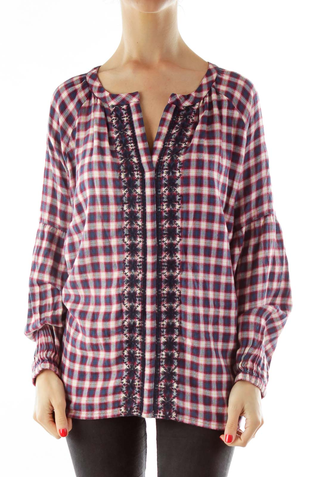 Red Blue Embroidered Gingham Blouse