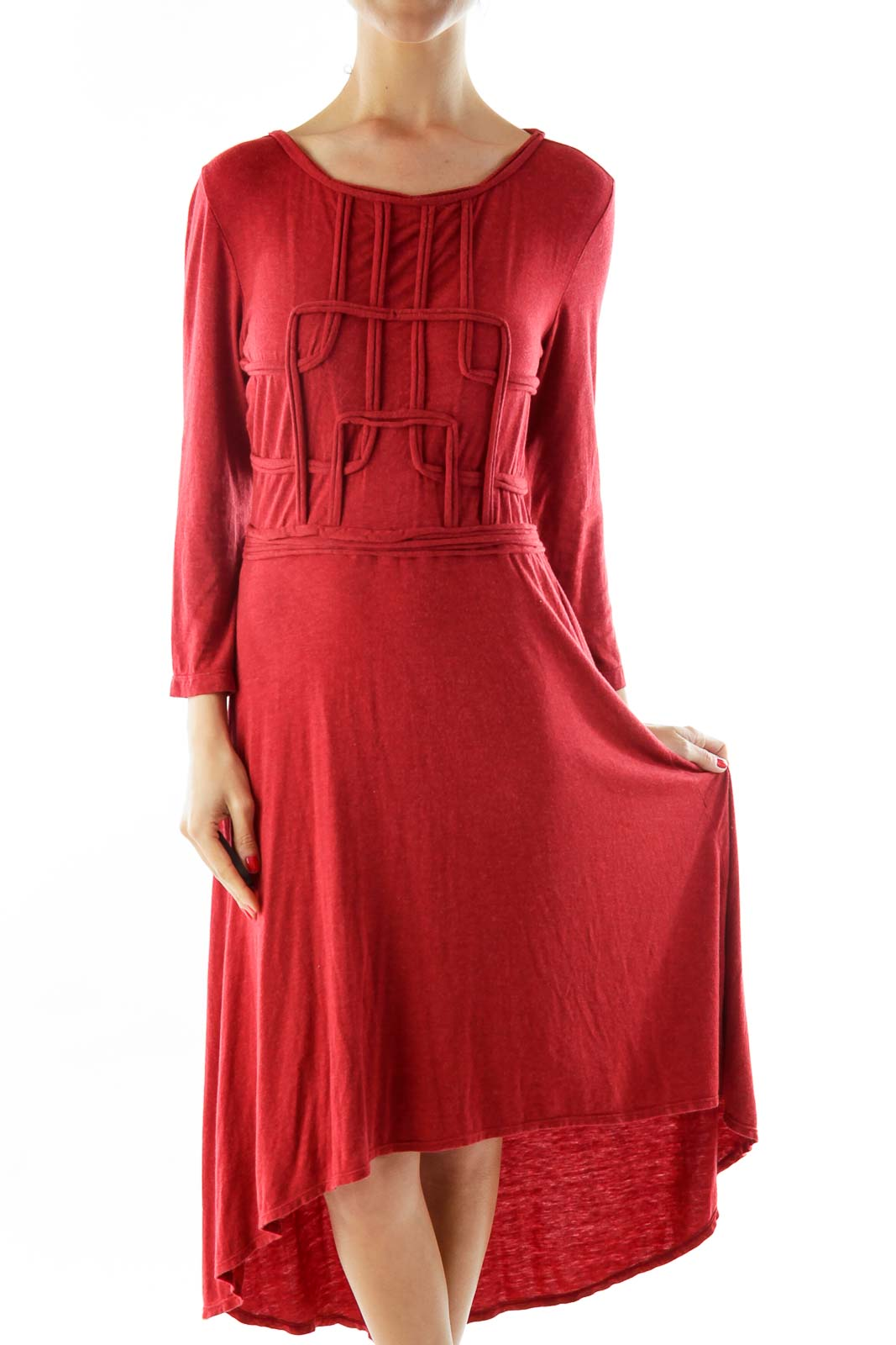 Red Textured Day Dress