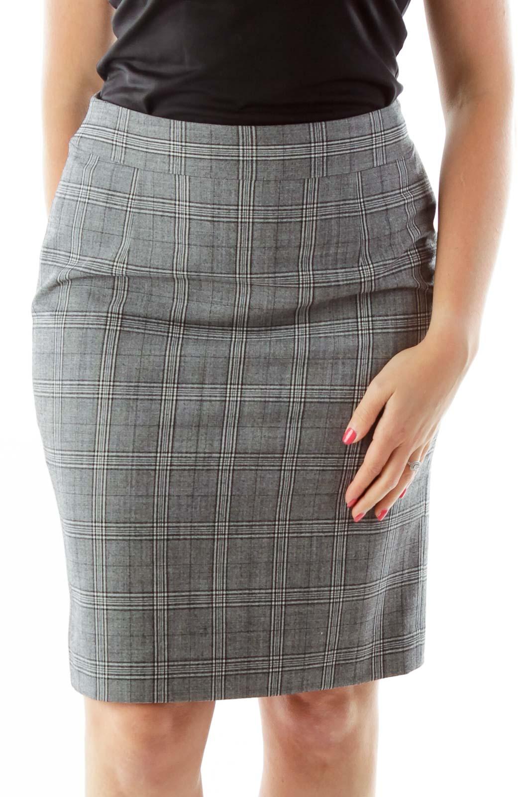 Gray Tartan Wool Pencil Skirt