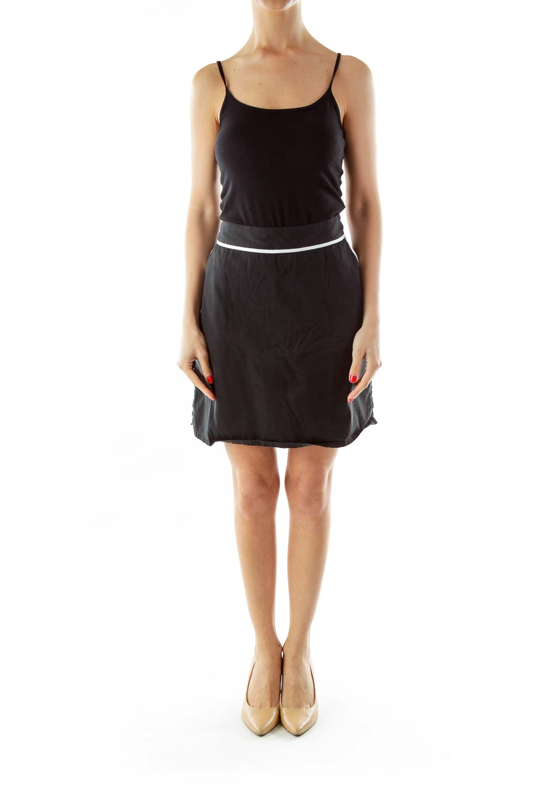 Black Pocketed Skirt w/ White Lines
