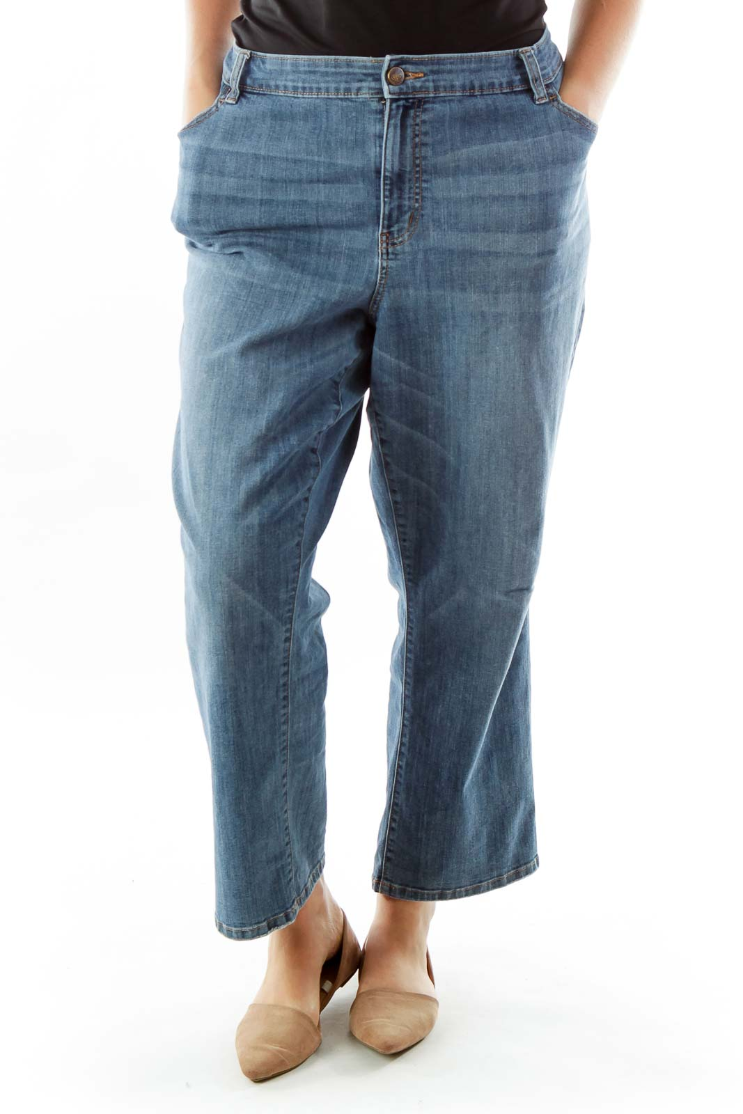 Blue Scratched Straight-Leg Jeans
