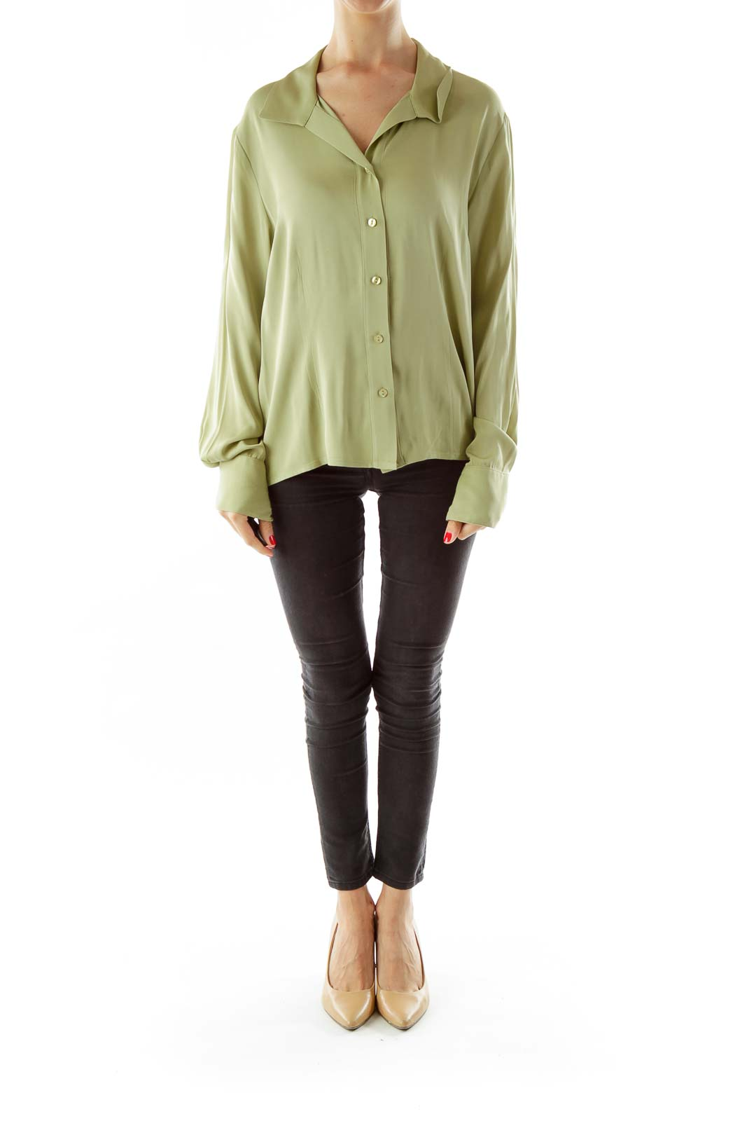 Green Fitted Silk Shirt