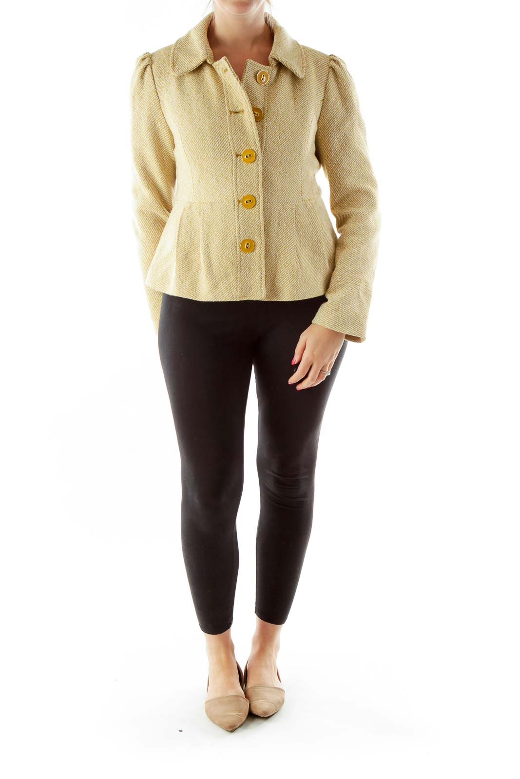 Yellow White Buttoned Knit Vest