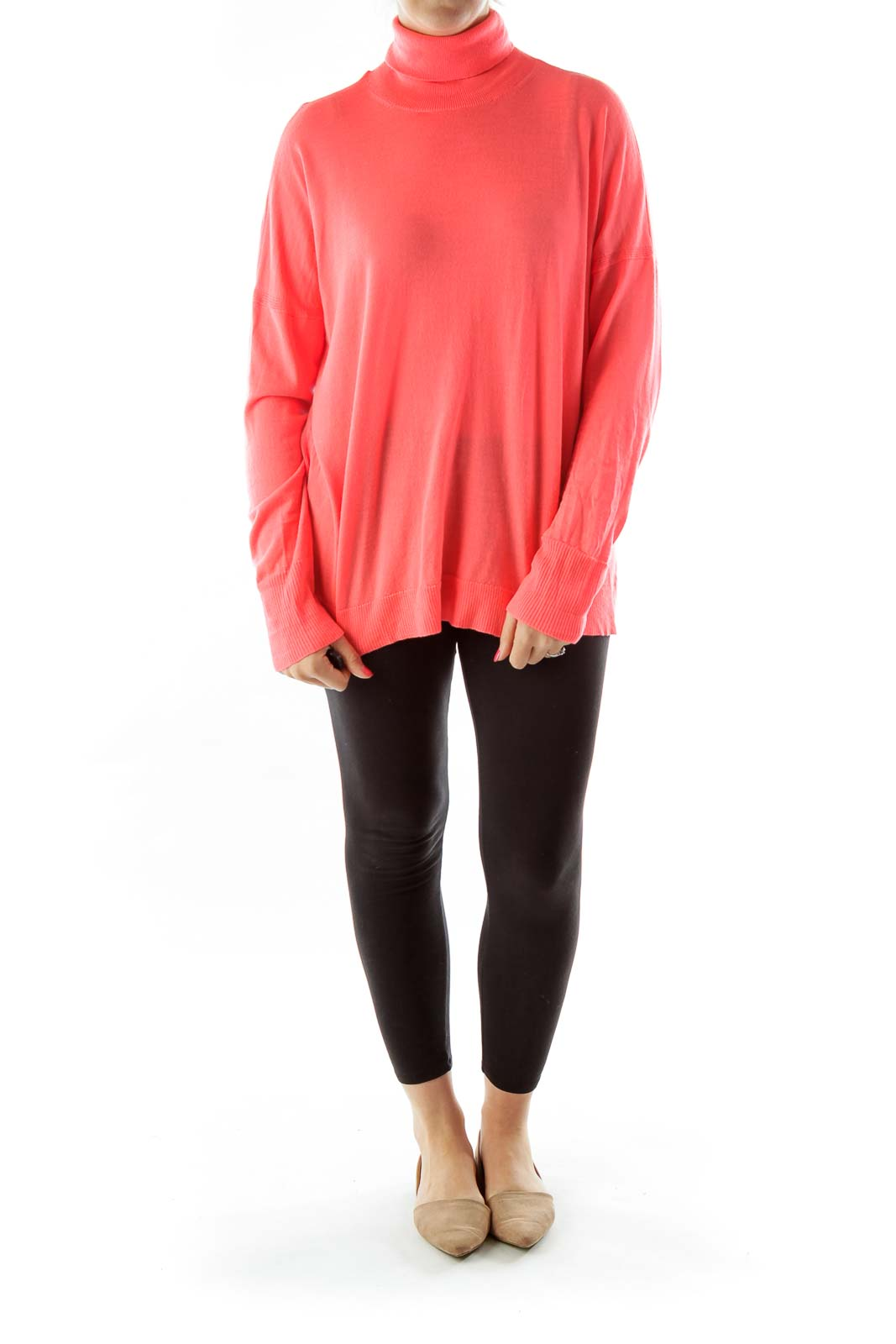 Salmon Turtle Neck Loose Top
