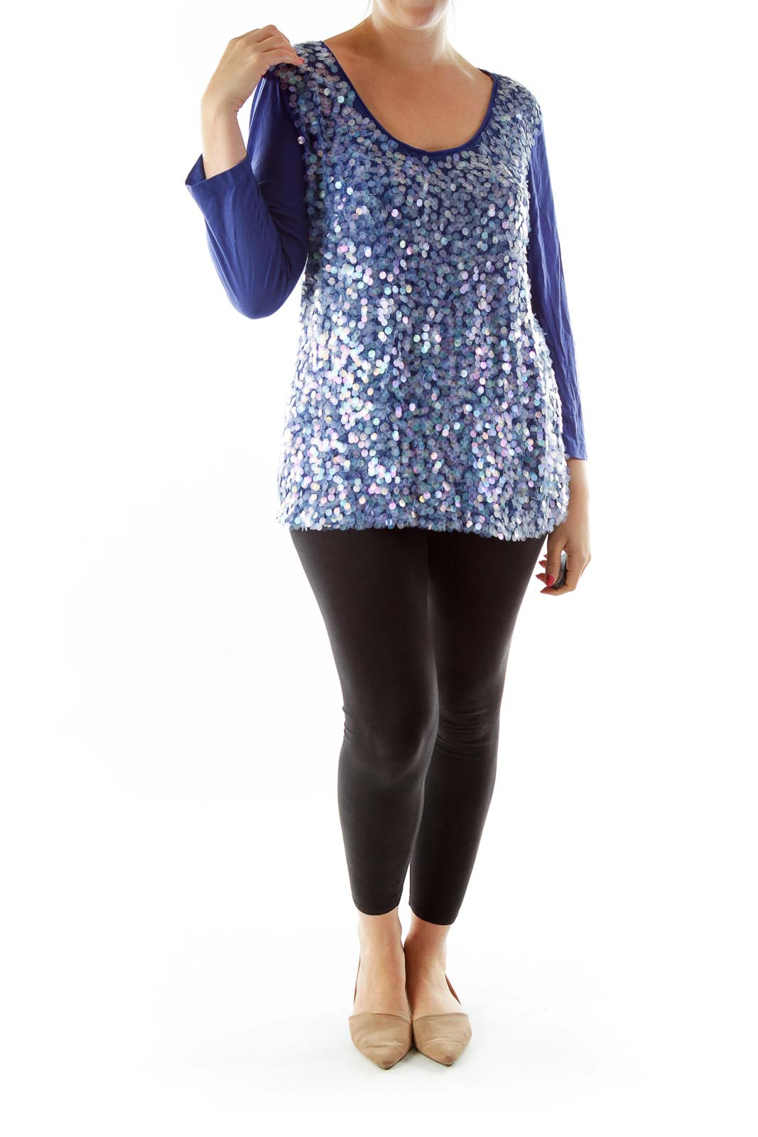Blue Loose Sequined Top