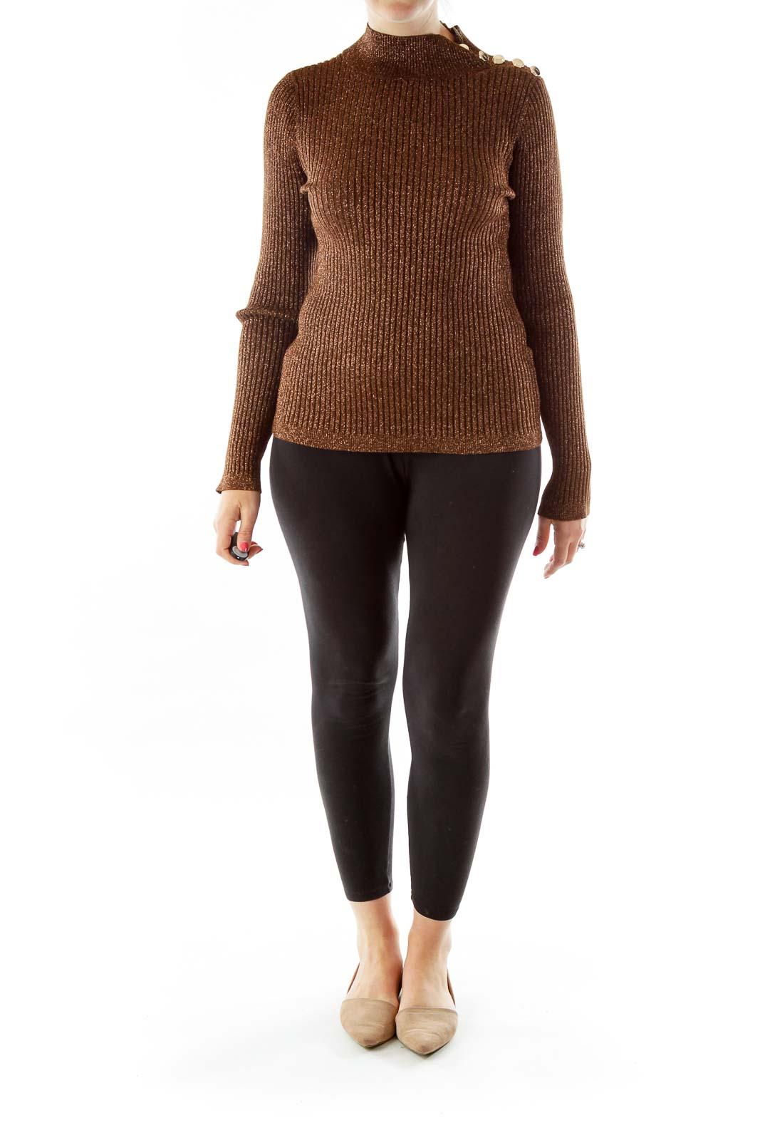 Brown Metallic Turtle Neck Sweater
