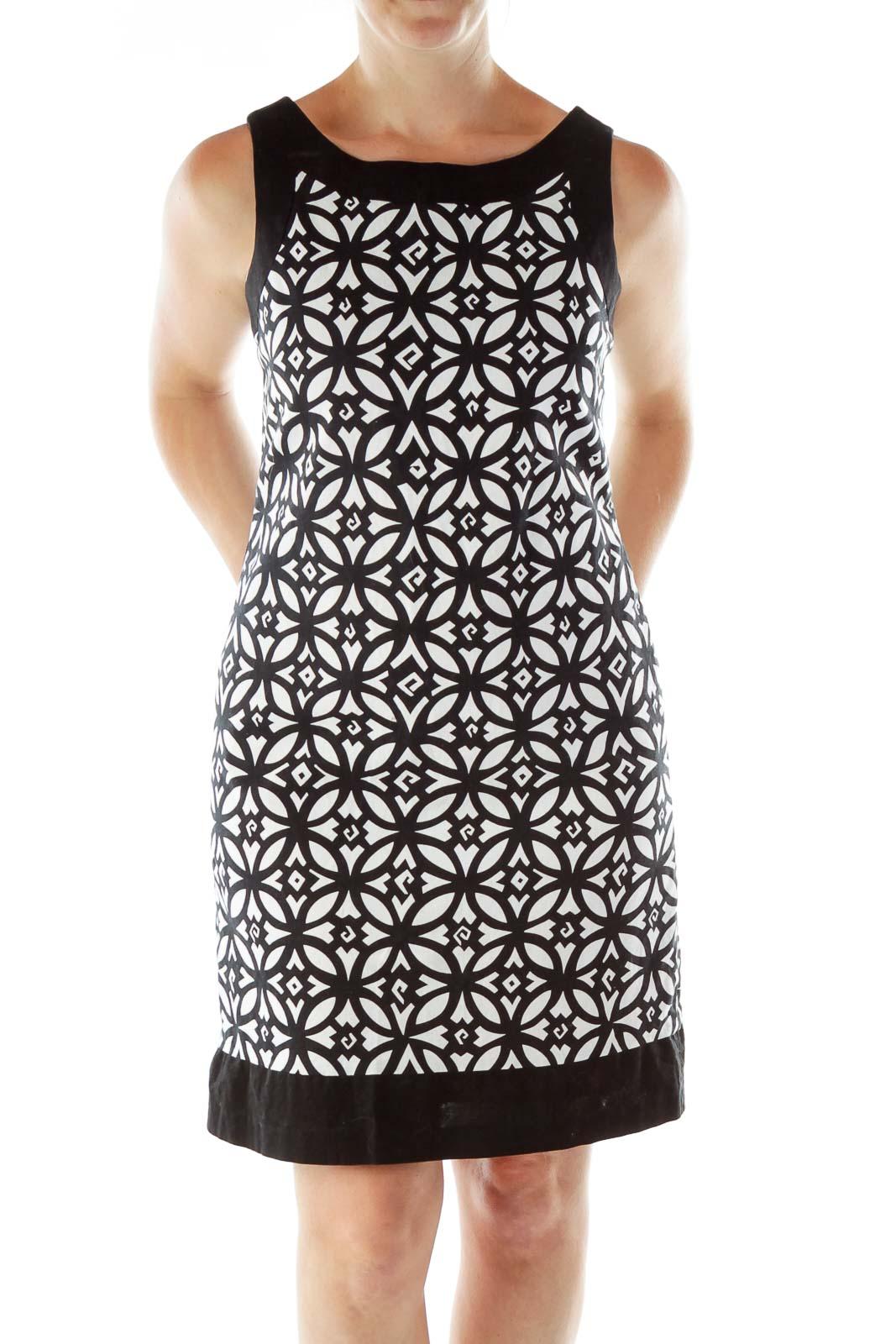 Black White Geometric Print A-Line Dress