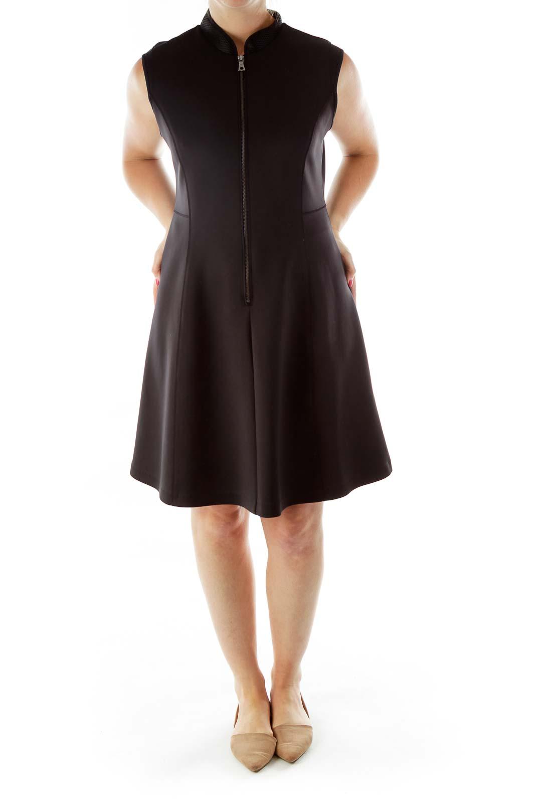 Black Collared Mesh Cocktail Dress