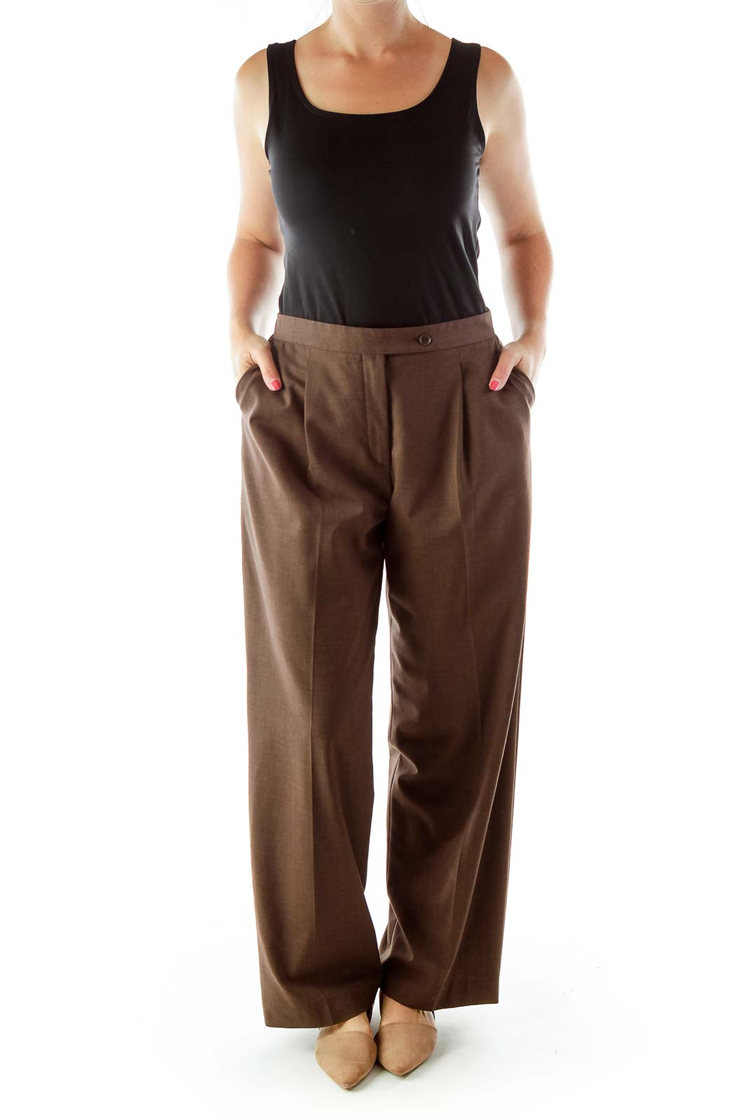 Brown Fitted Pocketed Suit Pants