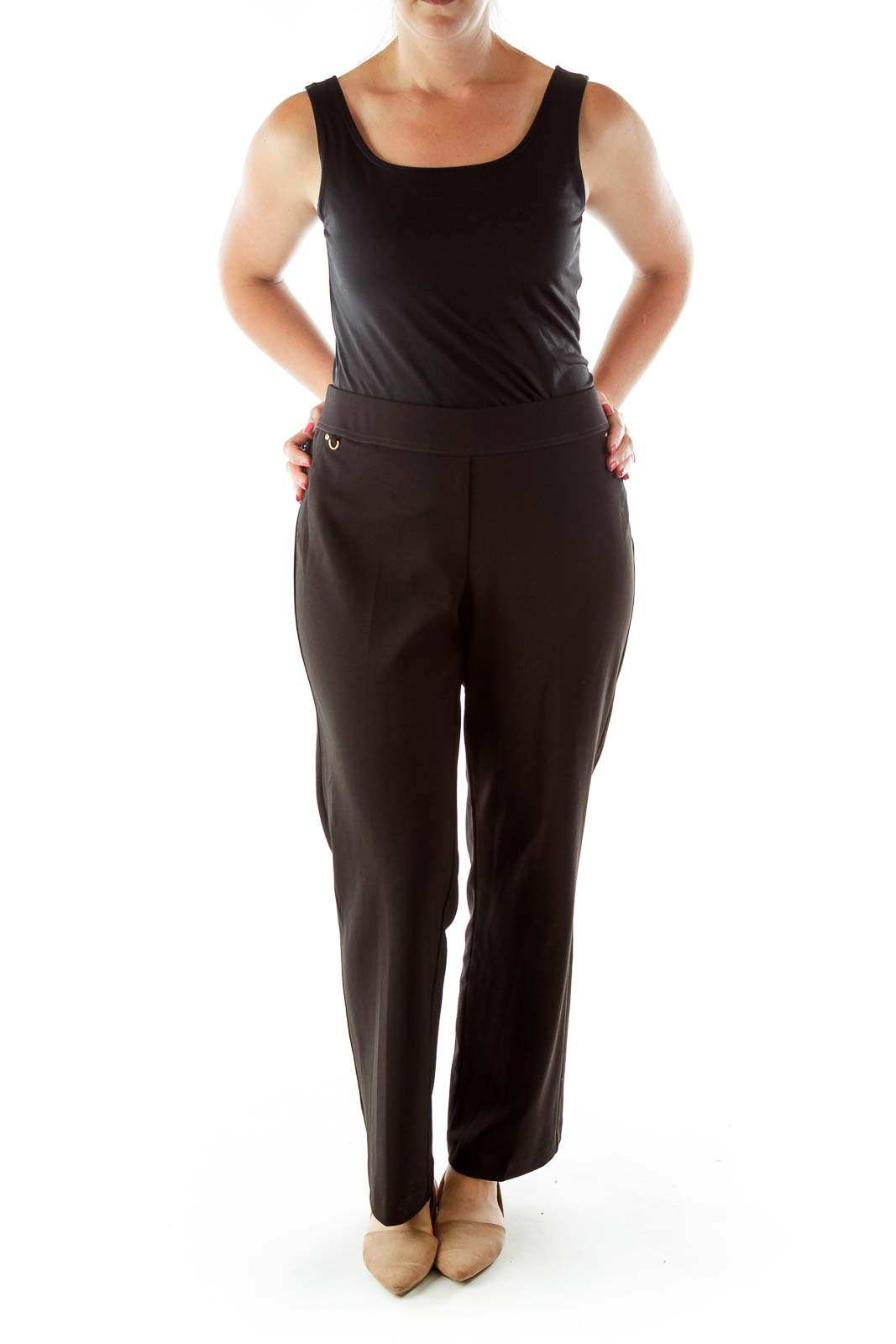 Black Elastic Waist Straight Fit Pants