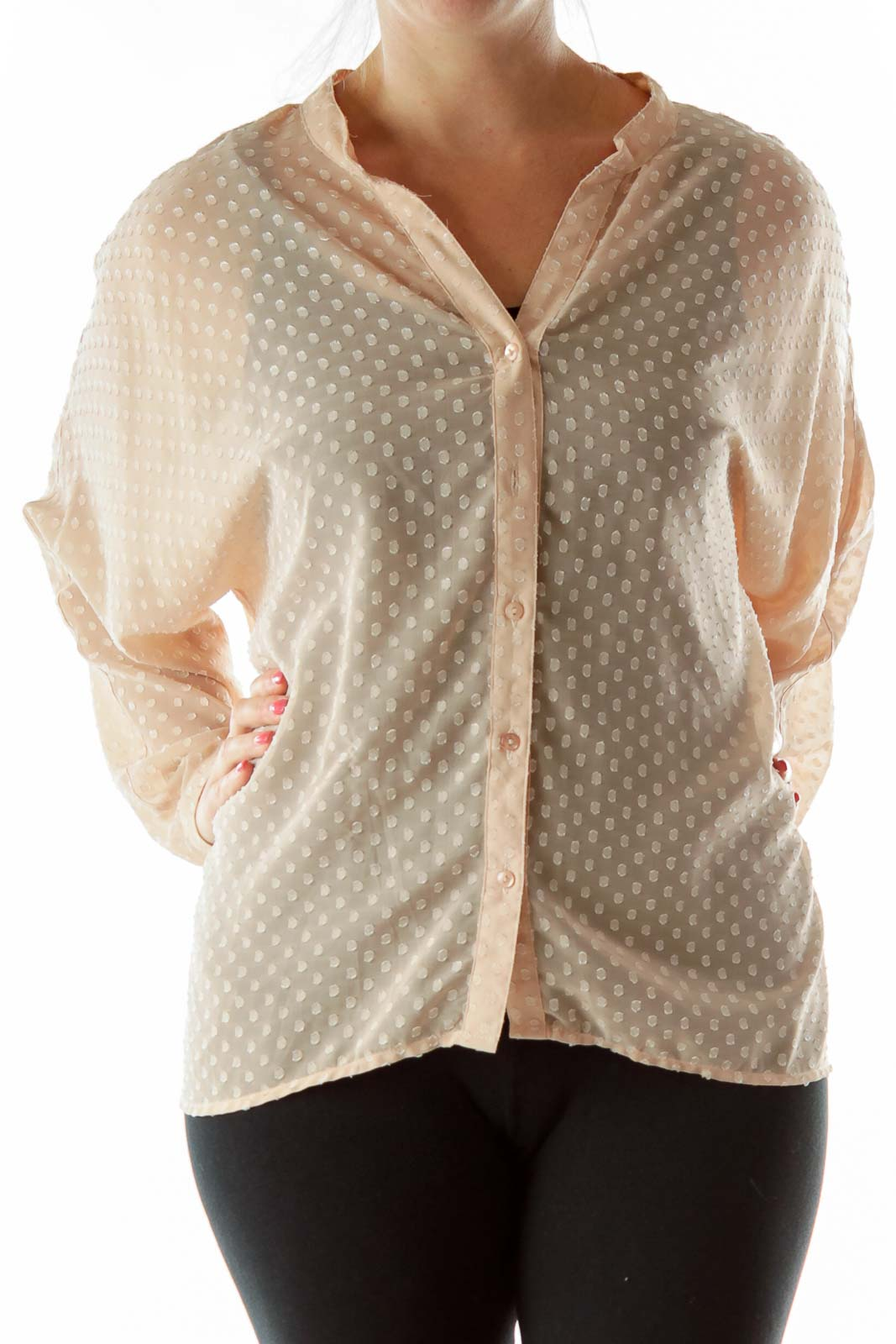 Beige Polka-Dot Textured Blouse