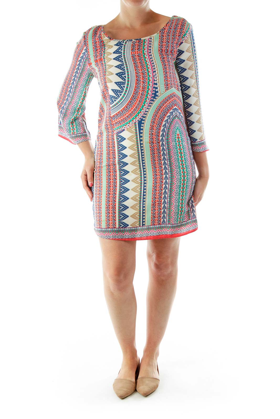 Multicolor Print Crochet Detailed Day Dress