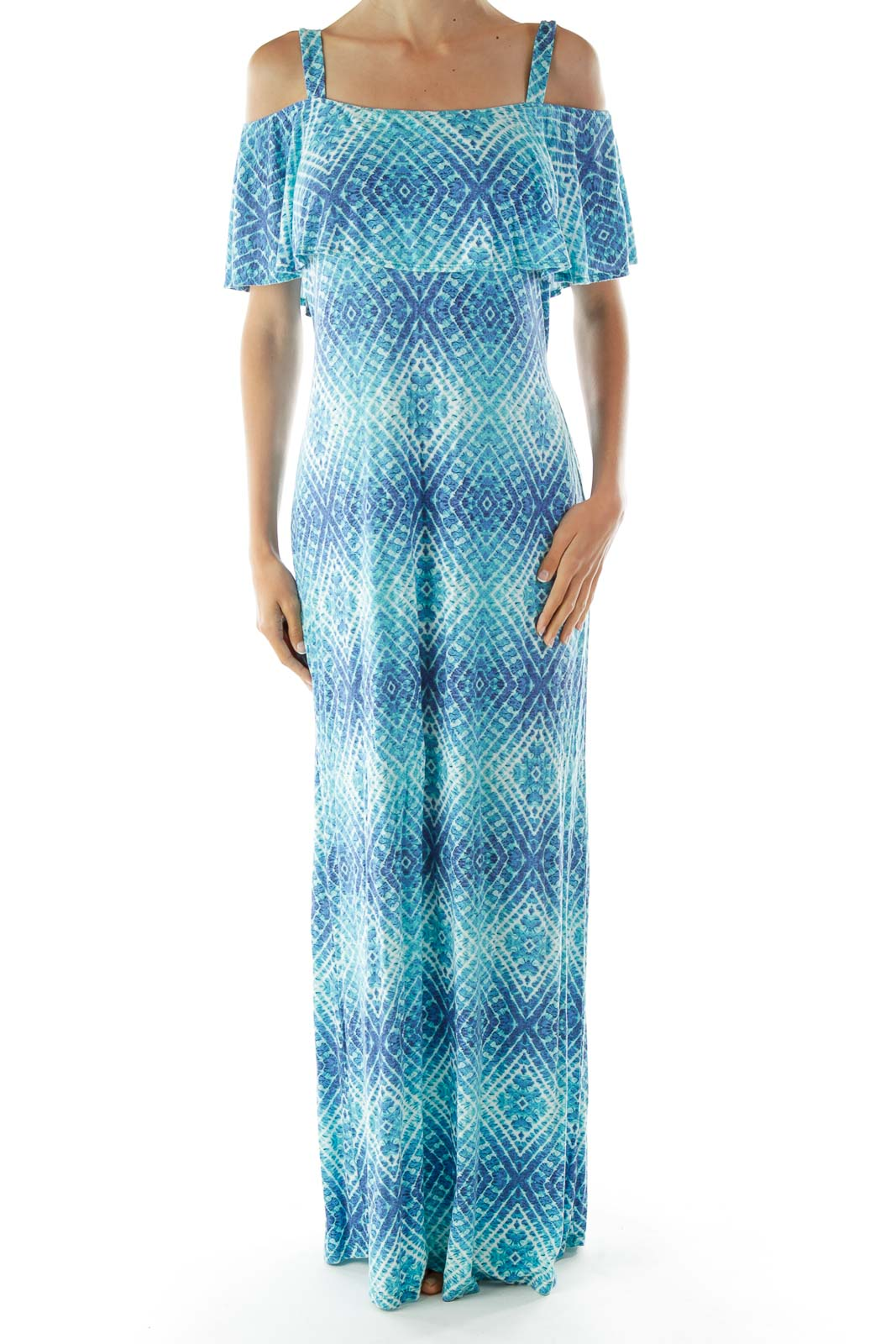 Blue White Tie Dye Cold Shoulder Day Dress