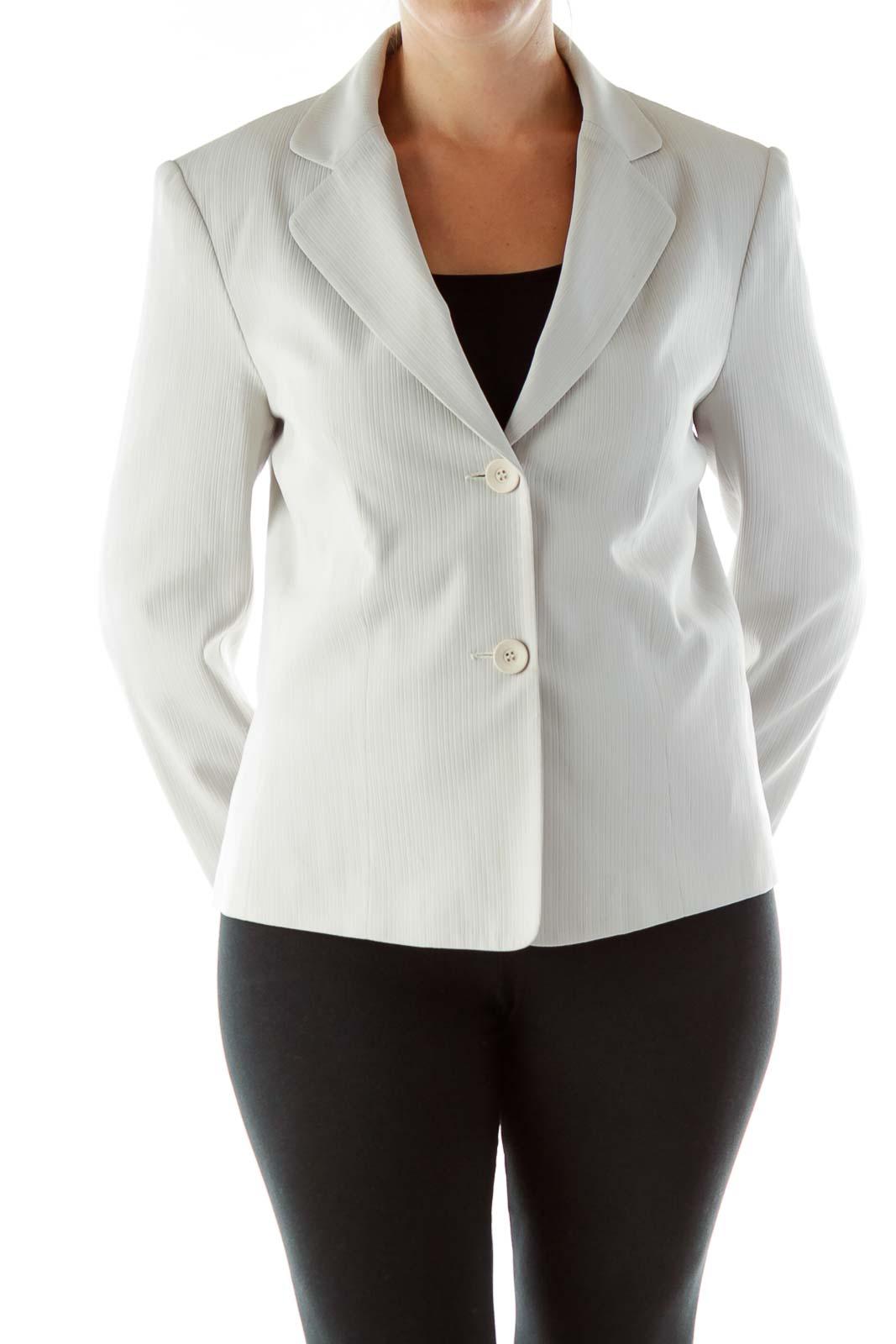 Gray Embossed Stripes Blazer Suit