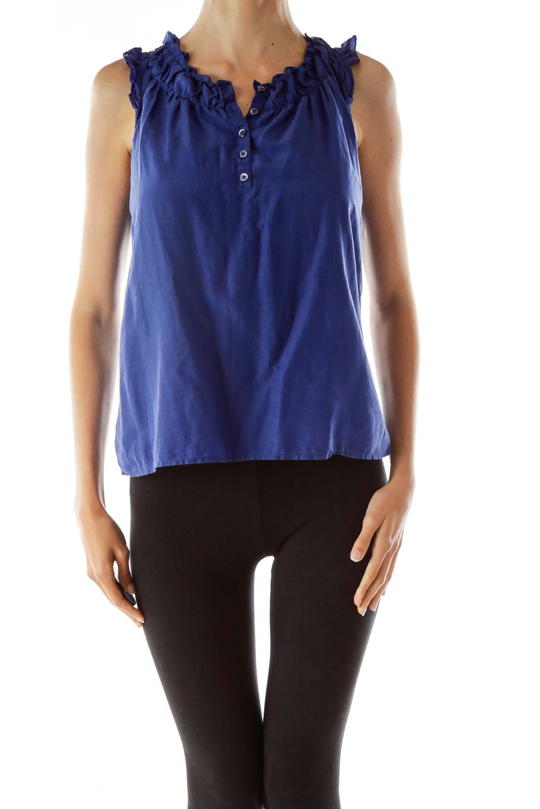 Blue Buttoned Scrunched Loose Tank Top