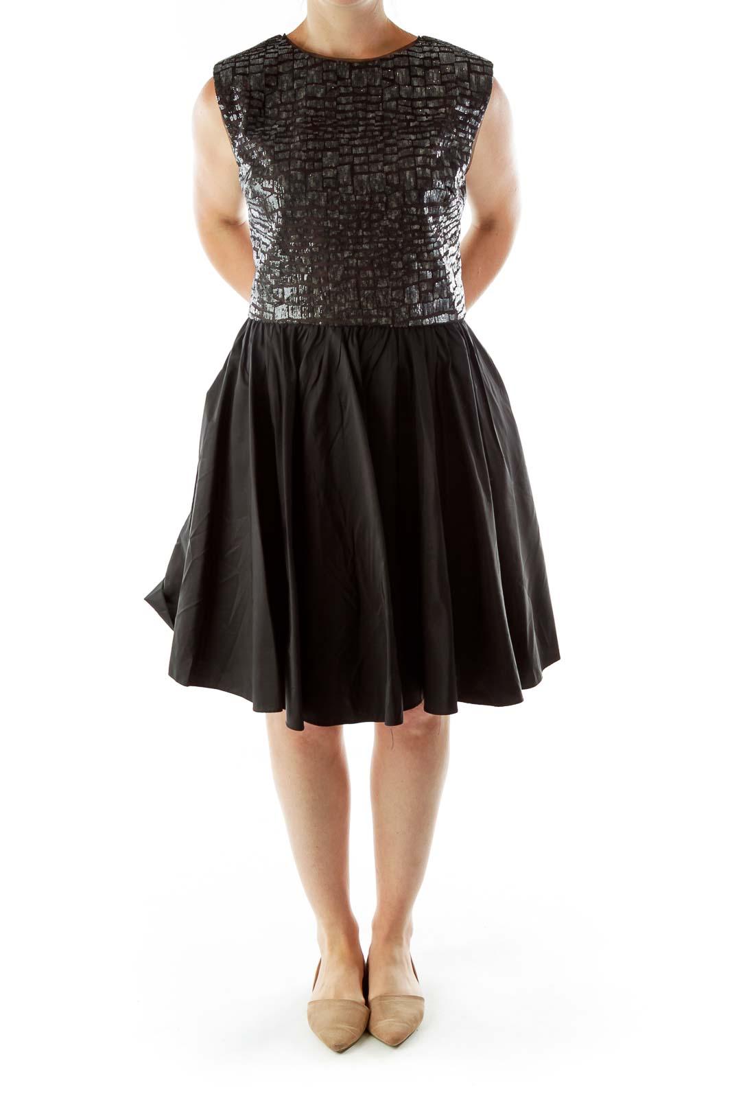 Black Sequined Open Back Evening Dress