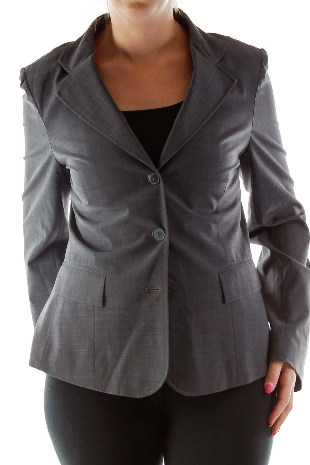 Gray Single-Breasted Blazer