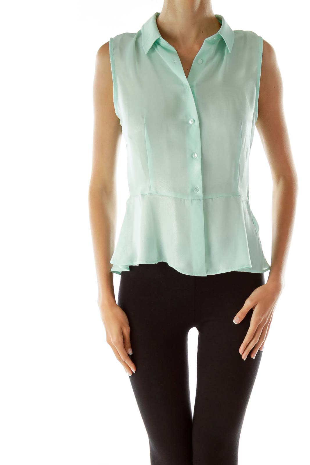 Mint Green Shimmer Sleeveless Blouse