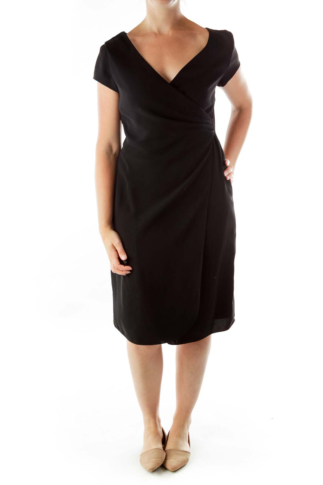 Black V-neck Fitted Dress