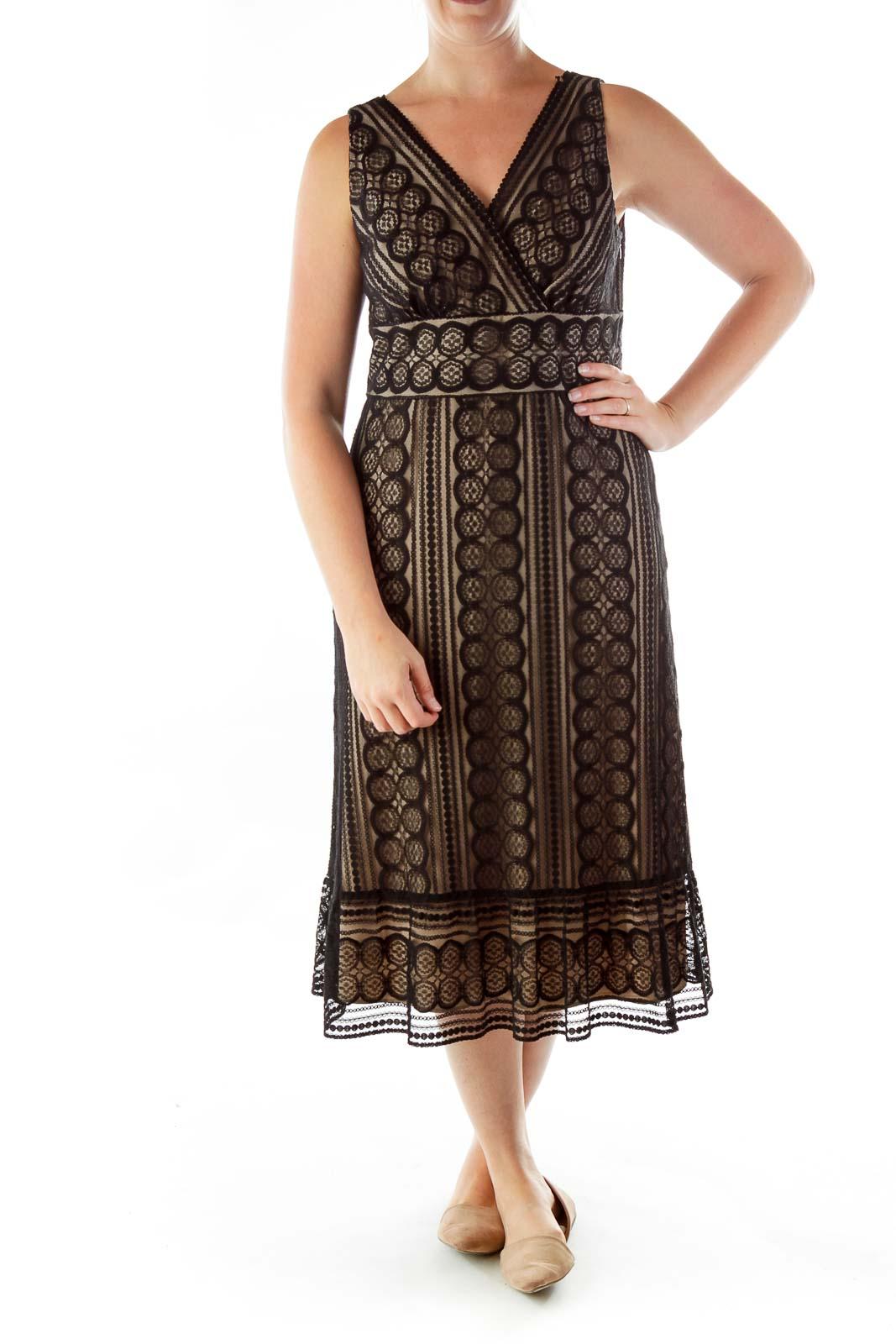 Black Beige Lace V-neck Dress