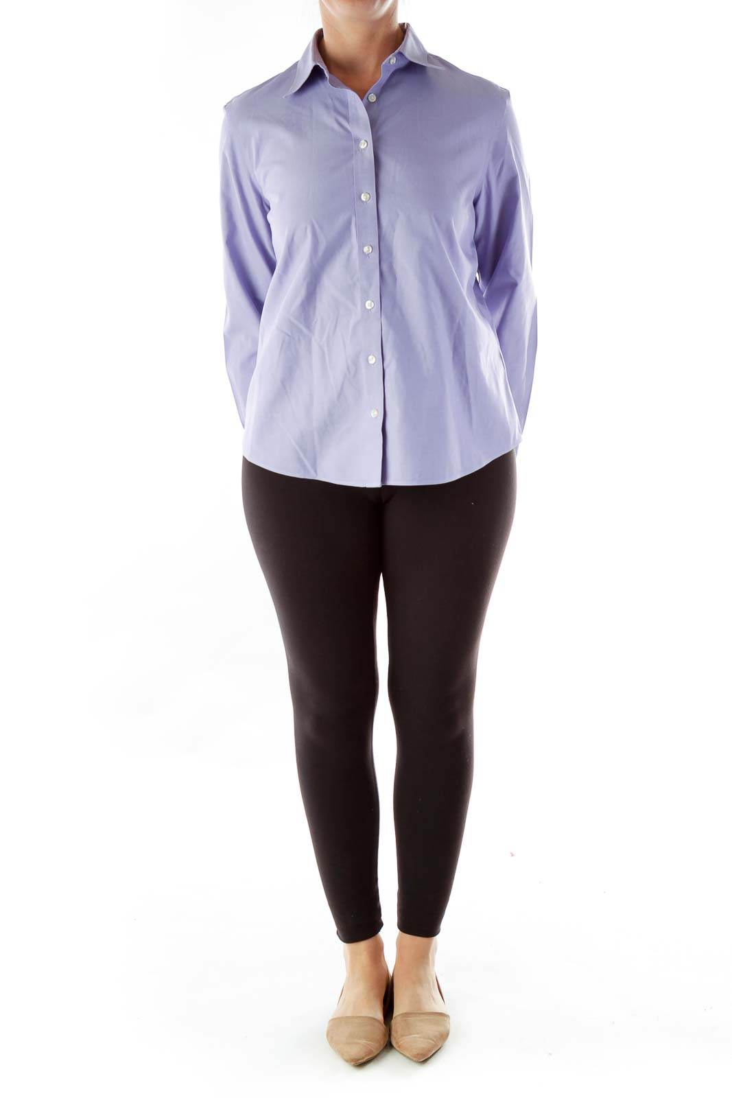 Purple Button-Up Cotton Shirt