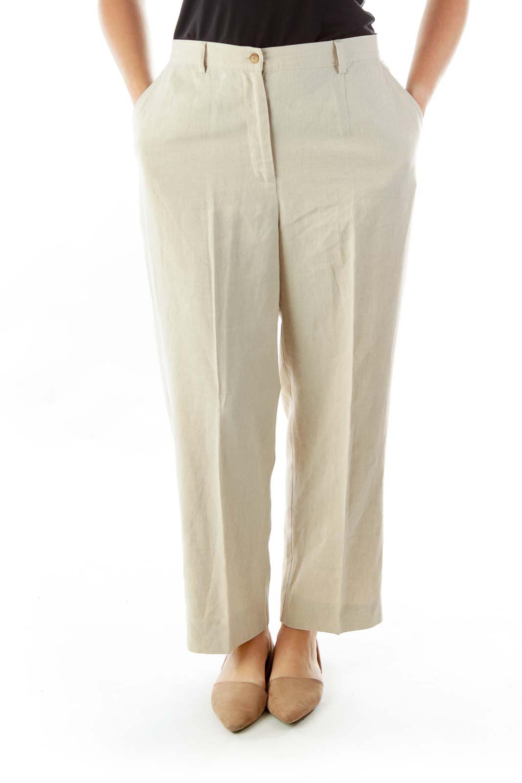 Linen Straight Leg Slacks