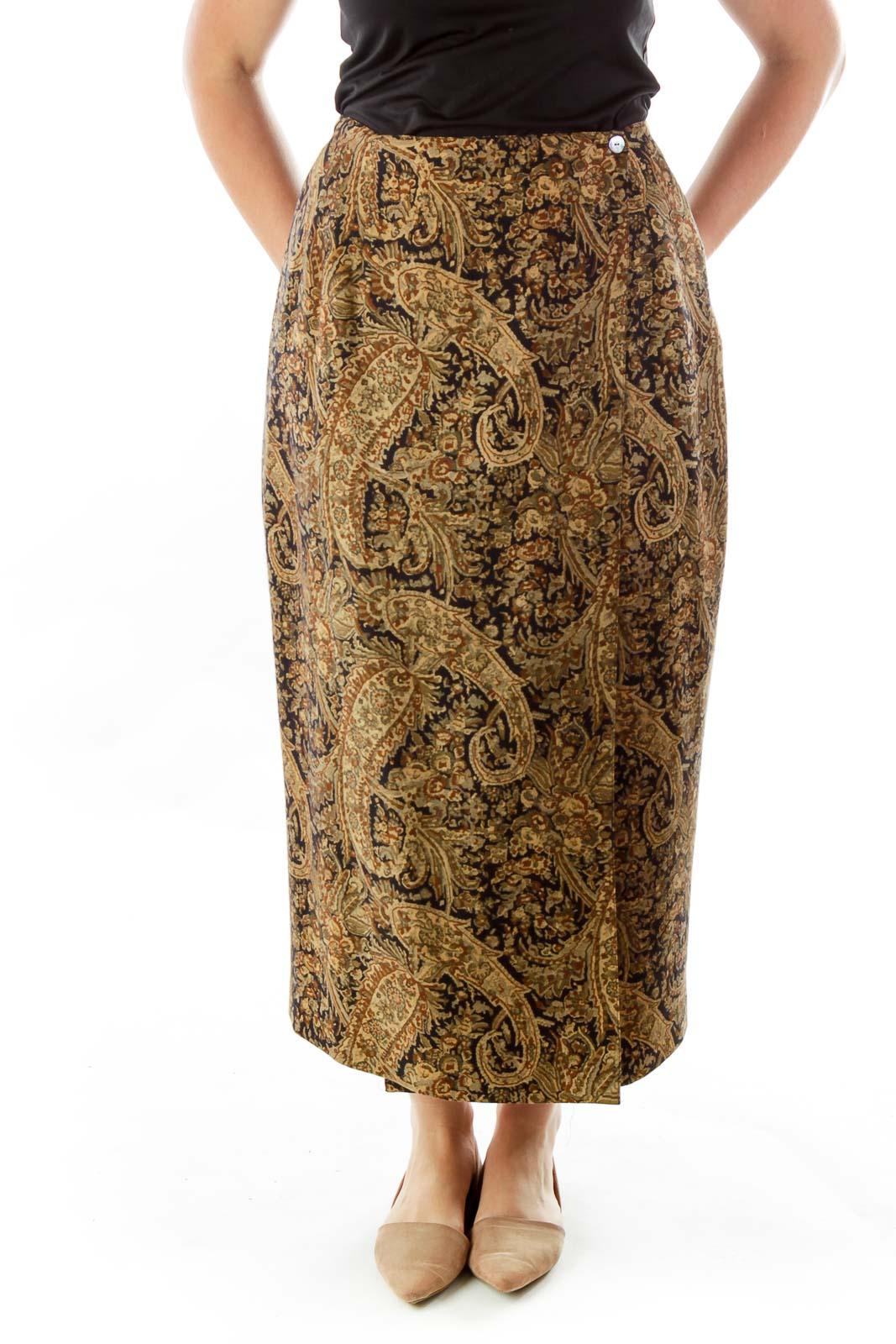 Brown Woven Maxi Skirt