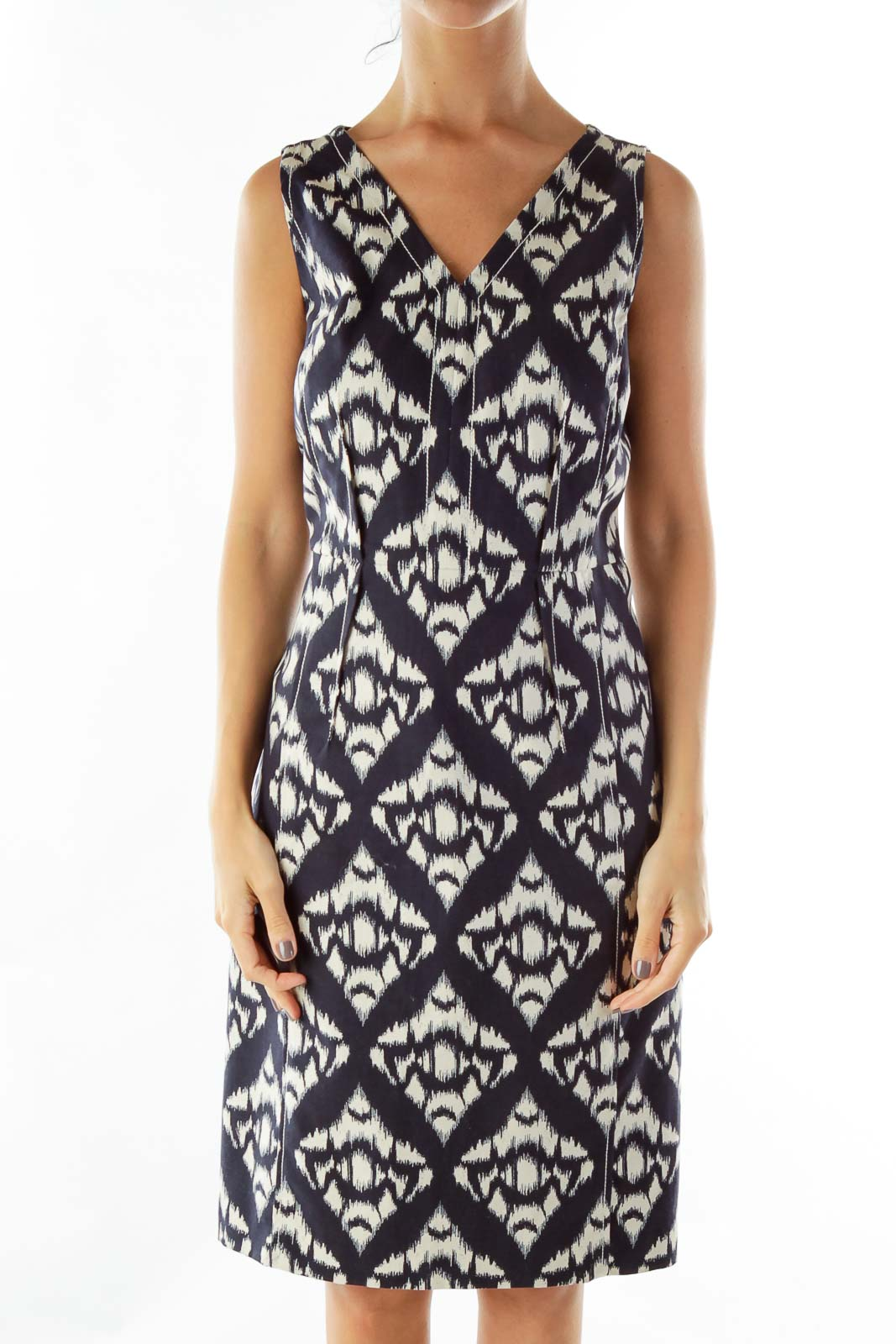 Black White Woven Sleeveless Work Dress