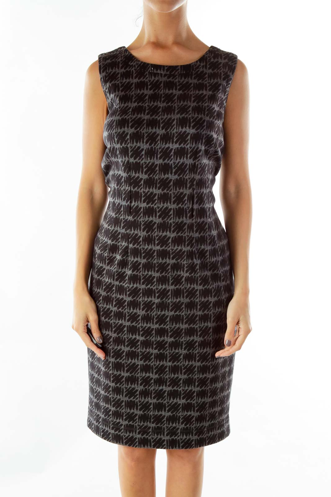 Black Gray Print Sleeveless Dress