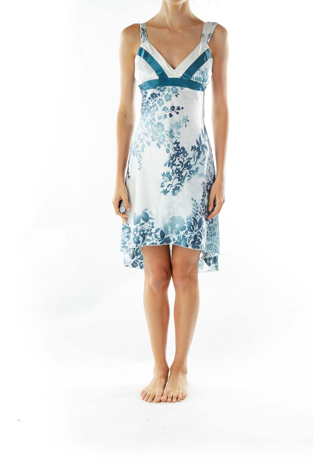 White Blue Printed Sleeveless Cocktail Dress