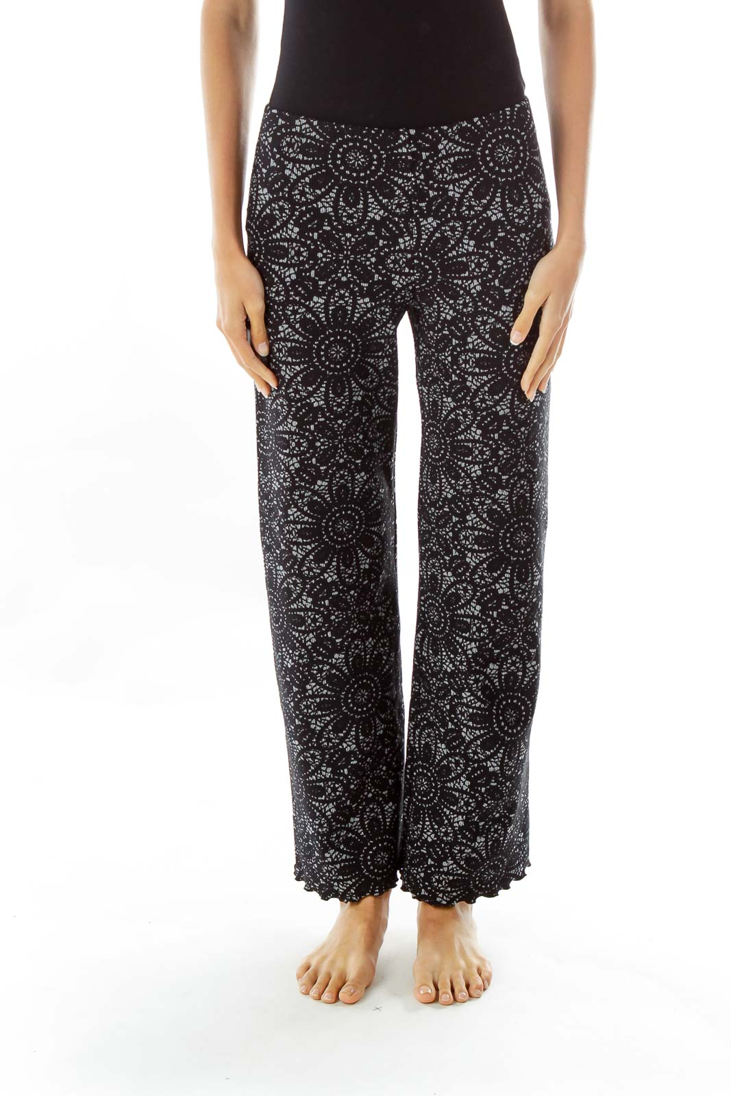 Black Gray Flower Print Textured Stretch Pants