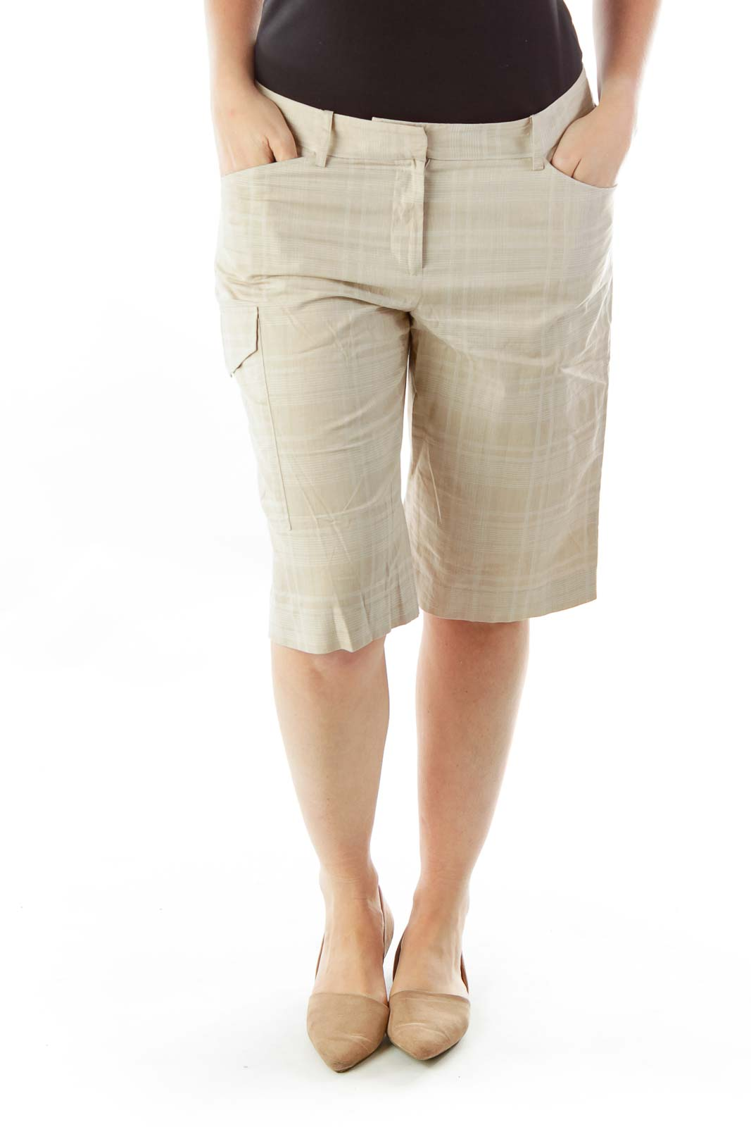 Beige White Plaid Bermuda Shorts