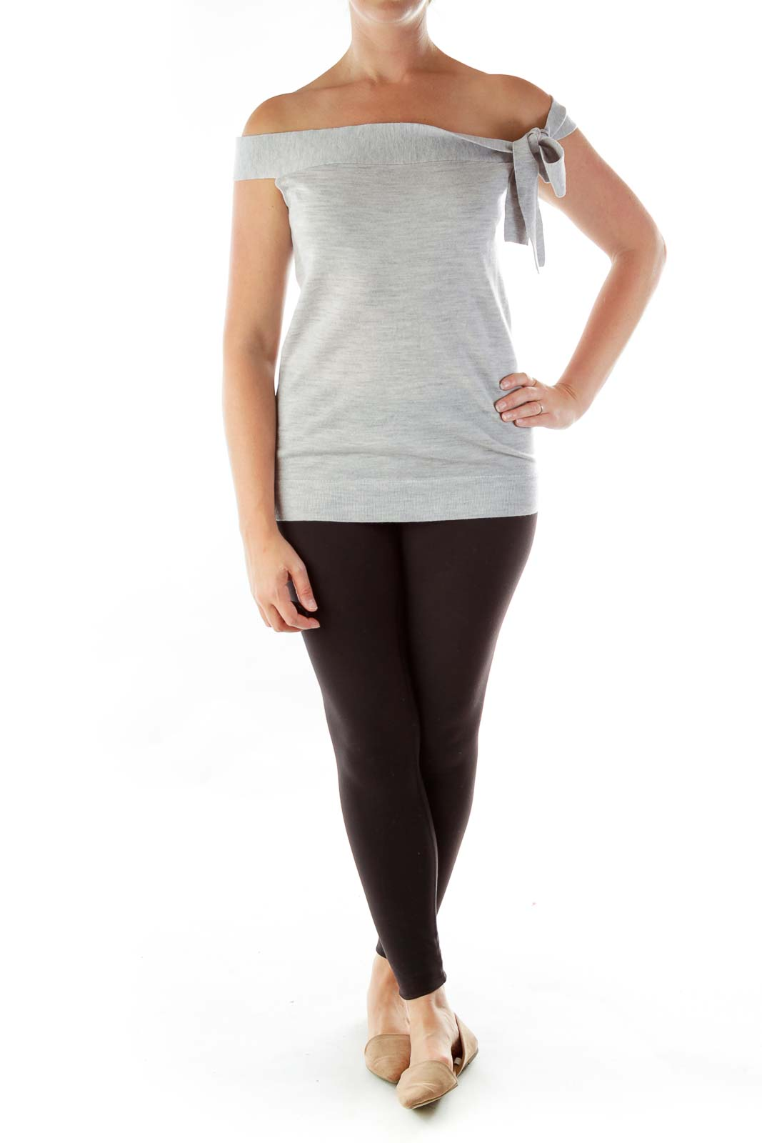 Gray Merino Wool Knit Top