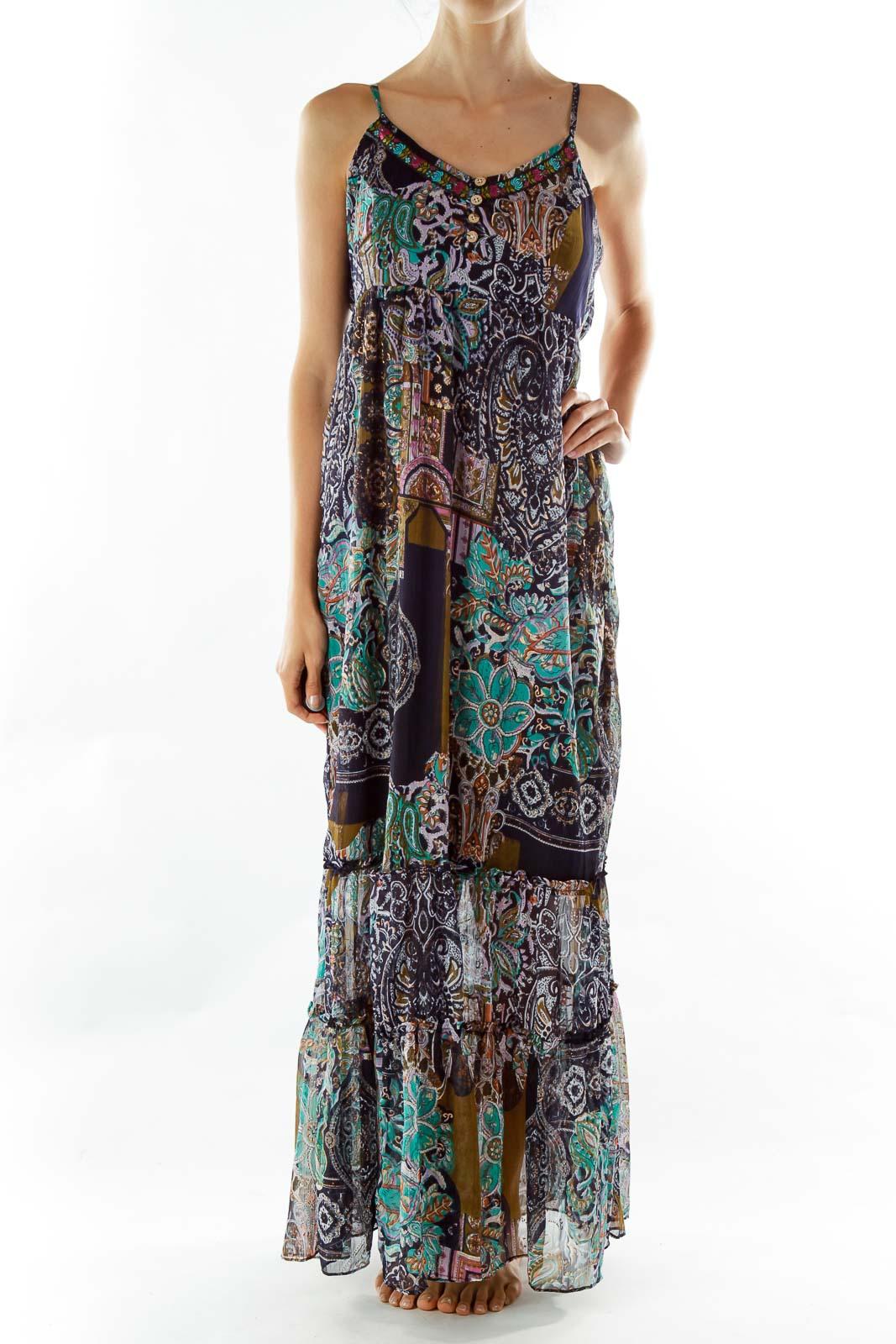 Navy Boho Print Maxi Dress