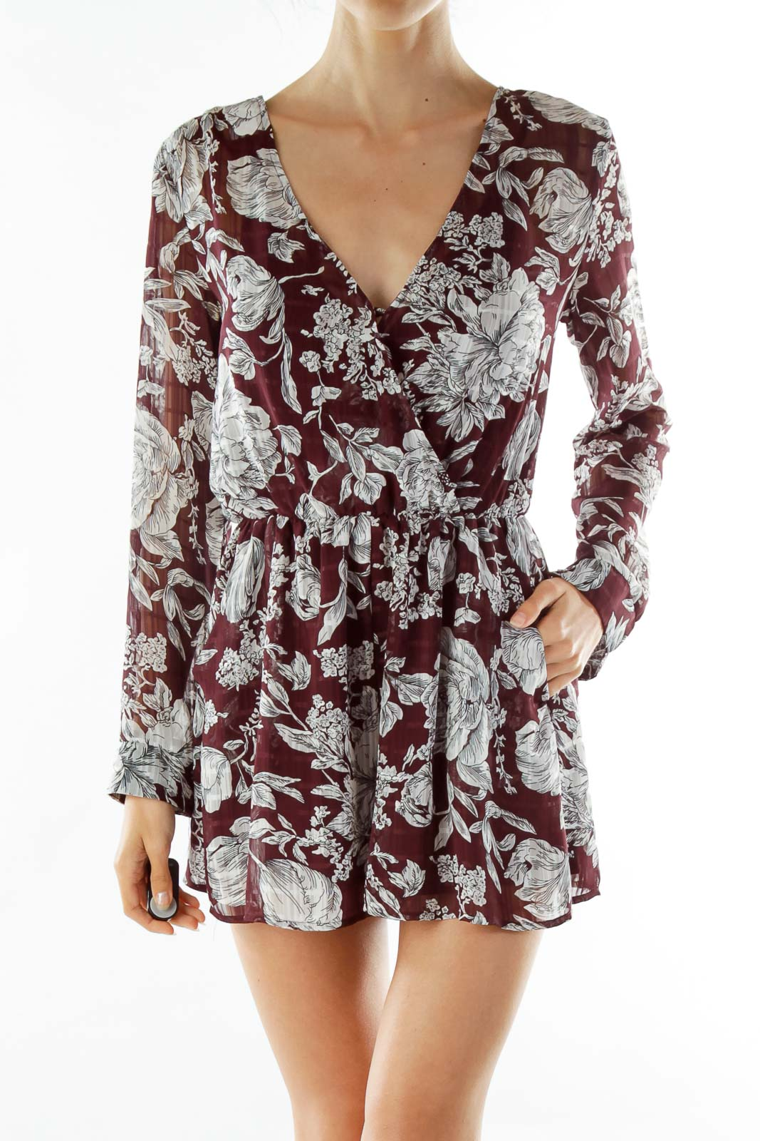 Purple White Floral Romper