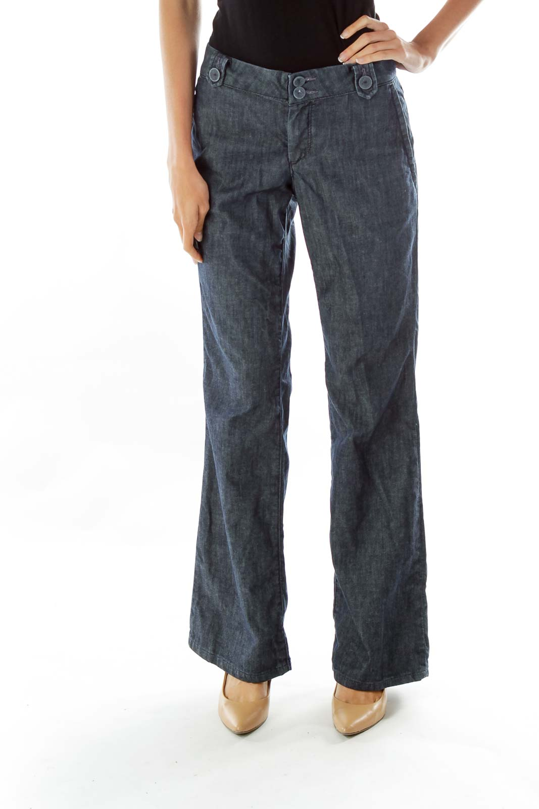 Blue High-Waisted Wide-Leg Jeans