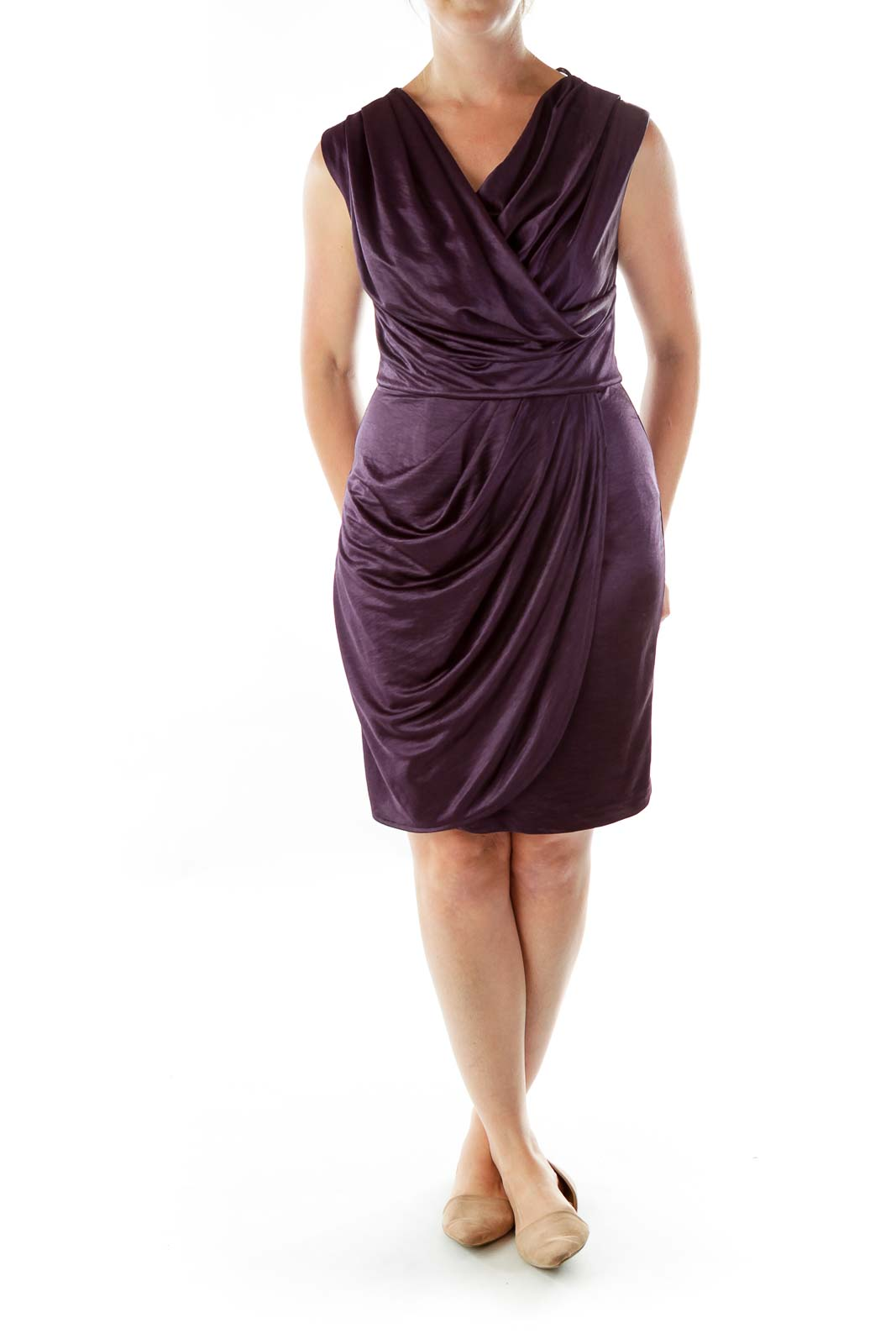 Purple Satin Crepe Dress