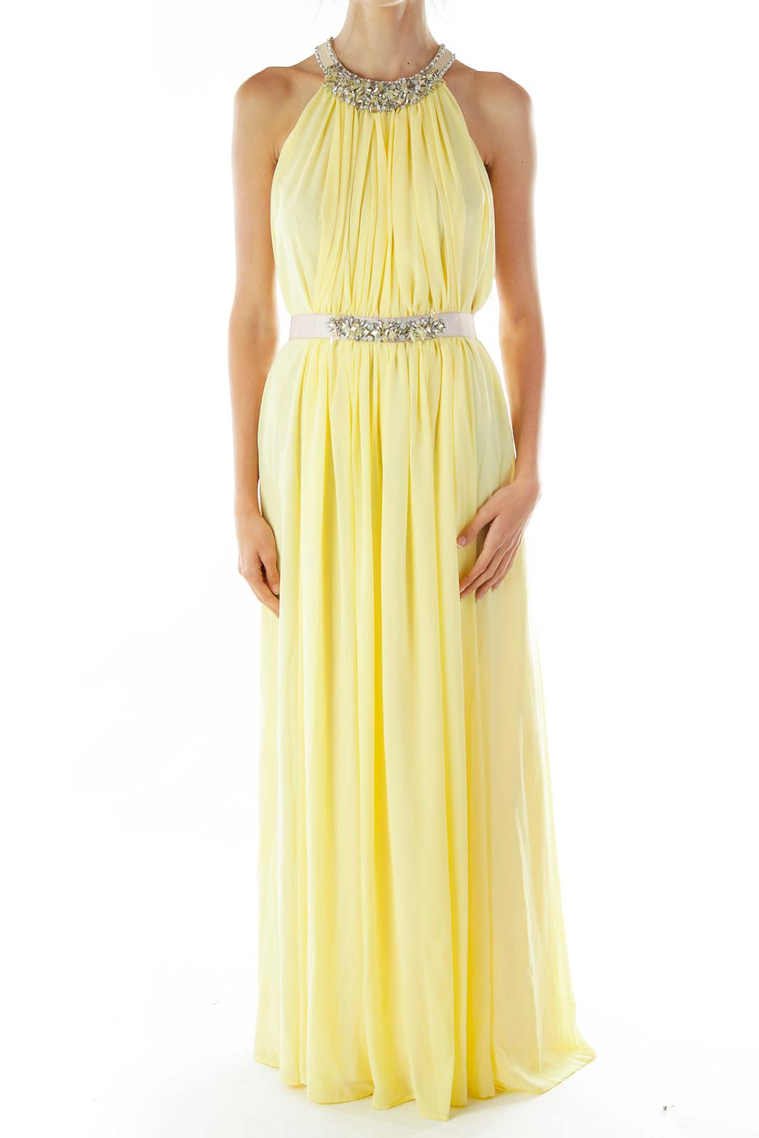 Yellow Beaded Sleeveless Evening Dress