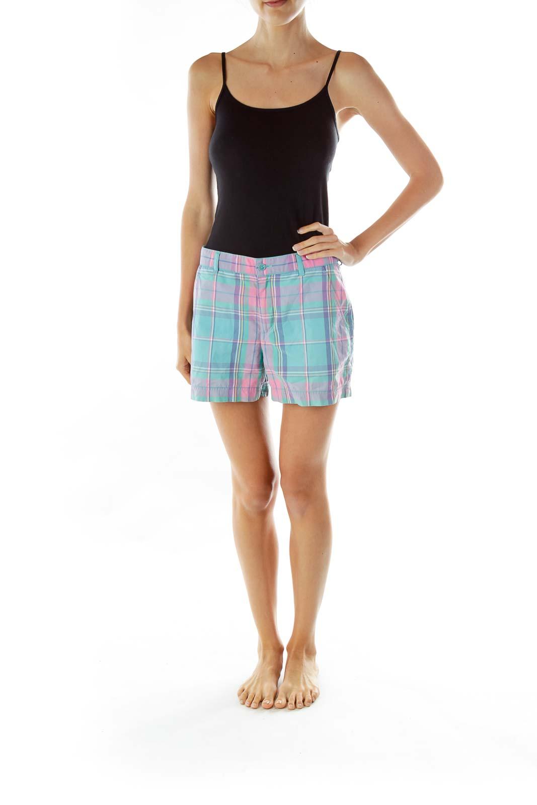 Pink Blue Pastel Tartan Shorts