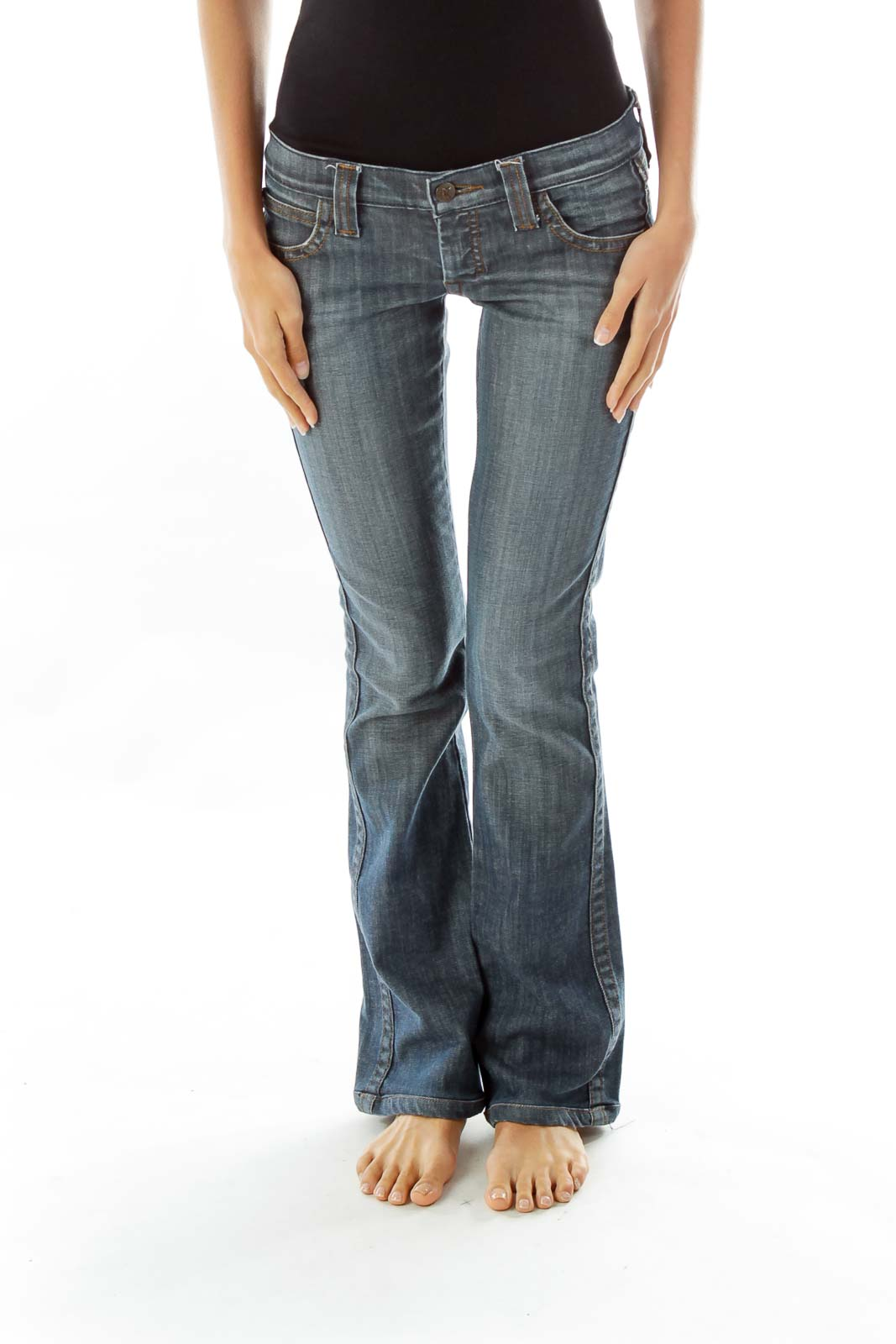 Navy Flared Jeans w/ Heart Pockets