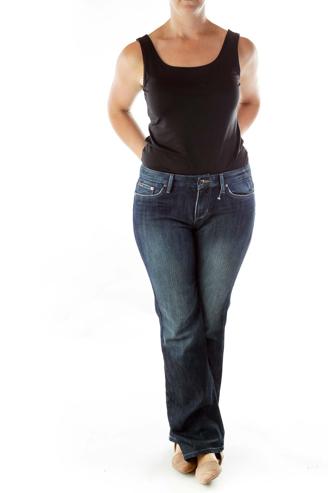 Navy Braided Pocket Flared Jeans