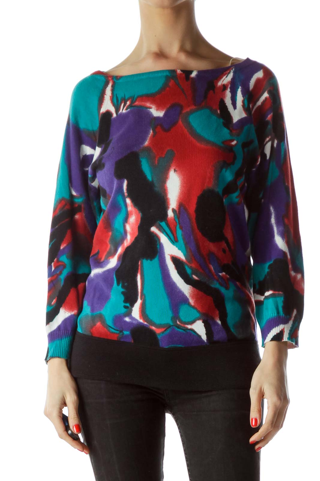 Multicolor Print Sweater