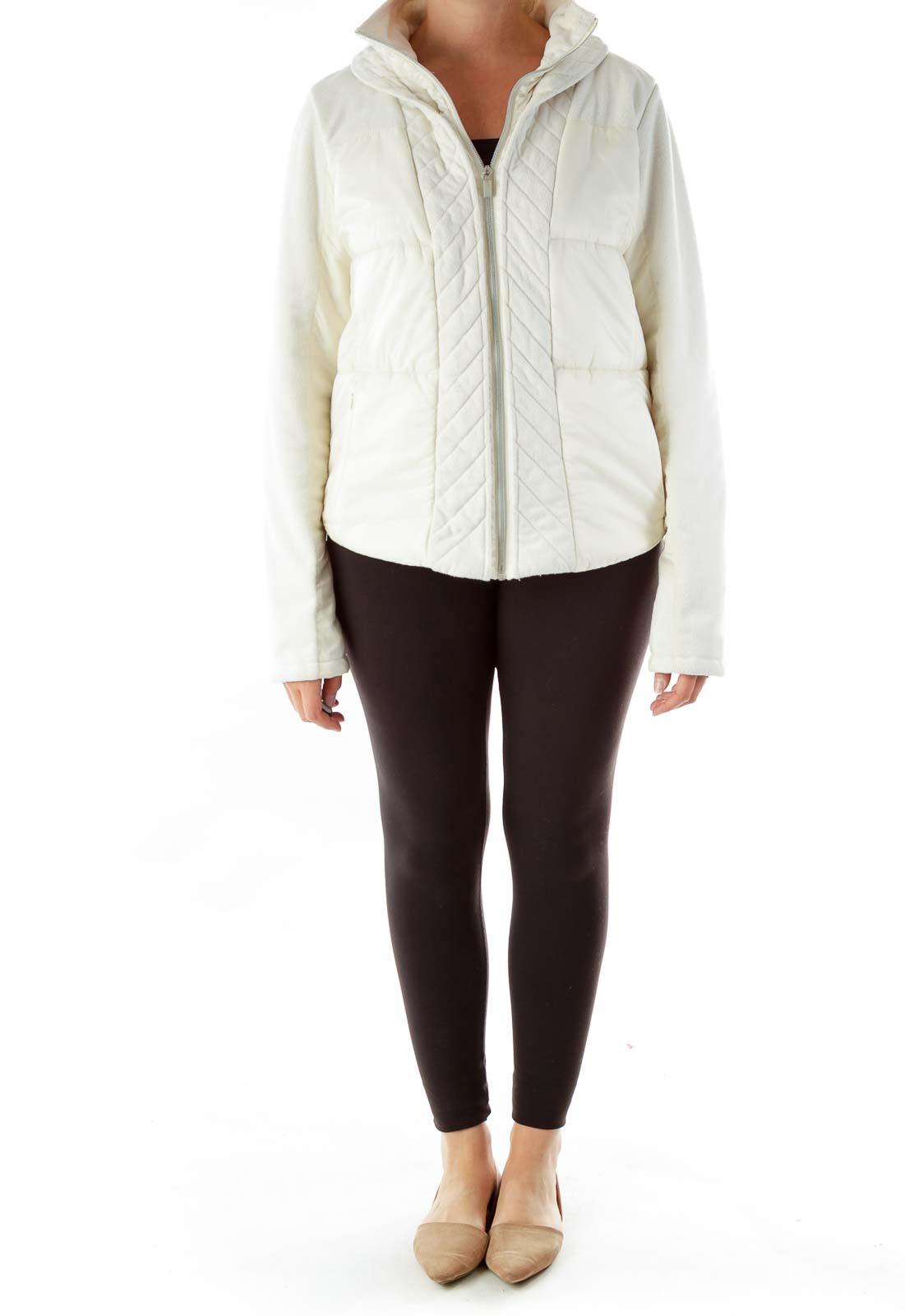 Cream Zippered Padded Jacket