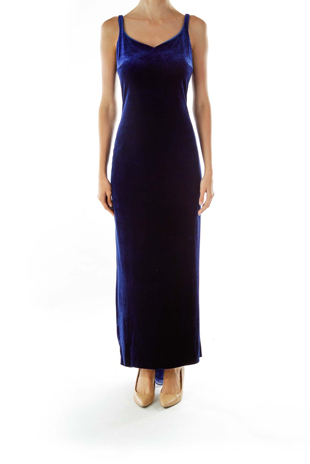 Blue Velvet Sleeveless Maxi Evening Dress