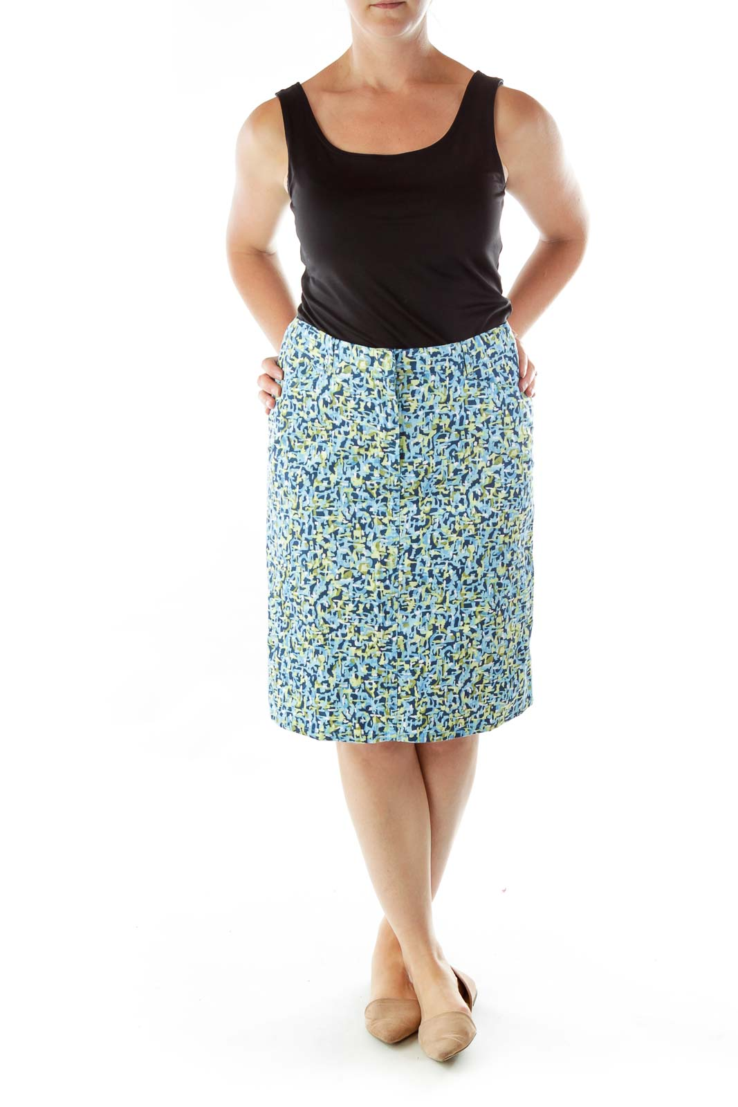 Petite Blue Green Printed A-line Skirt