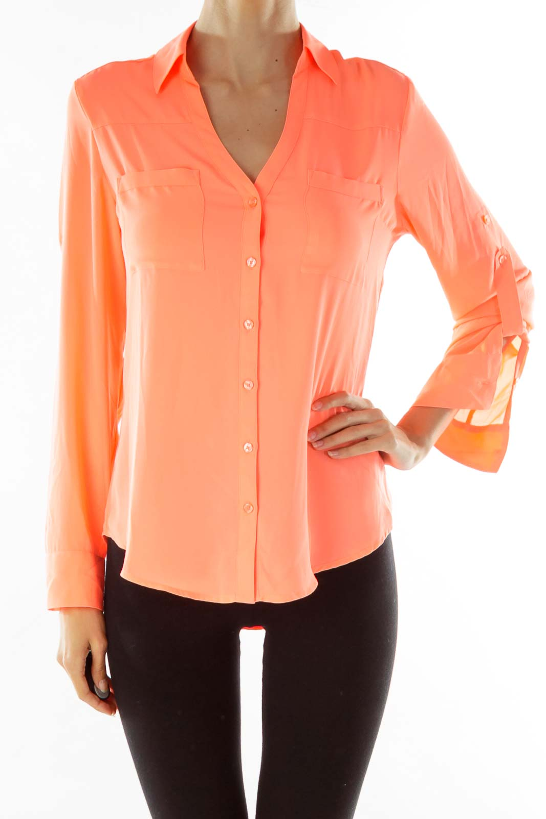 Orange Buttoned Blouse