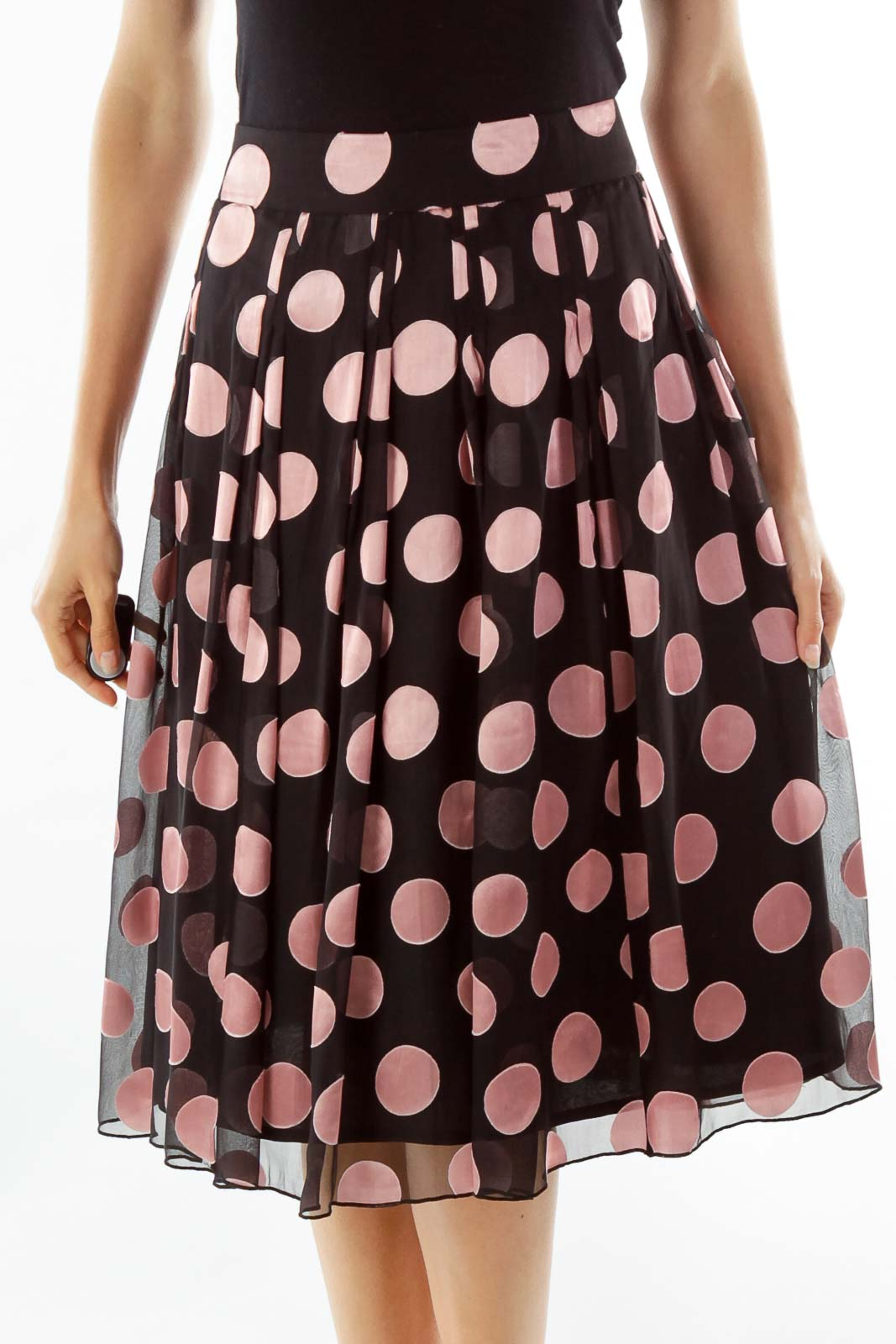 Black and Pink Polka Dot Midi Skirt
