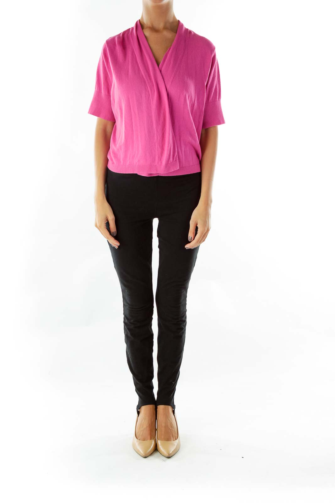 Pink Short-Sleeve Cropped Jacket